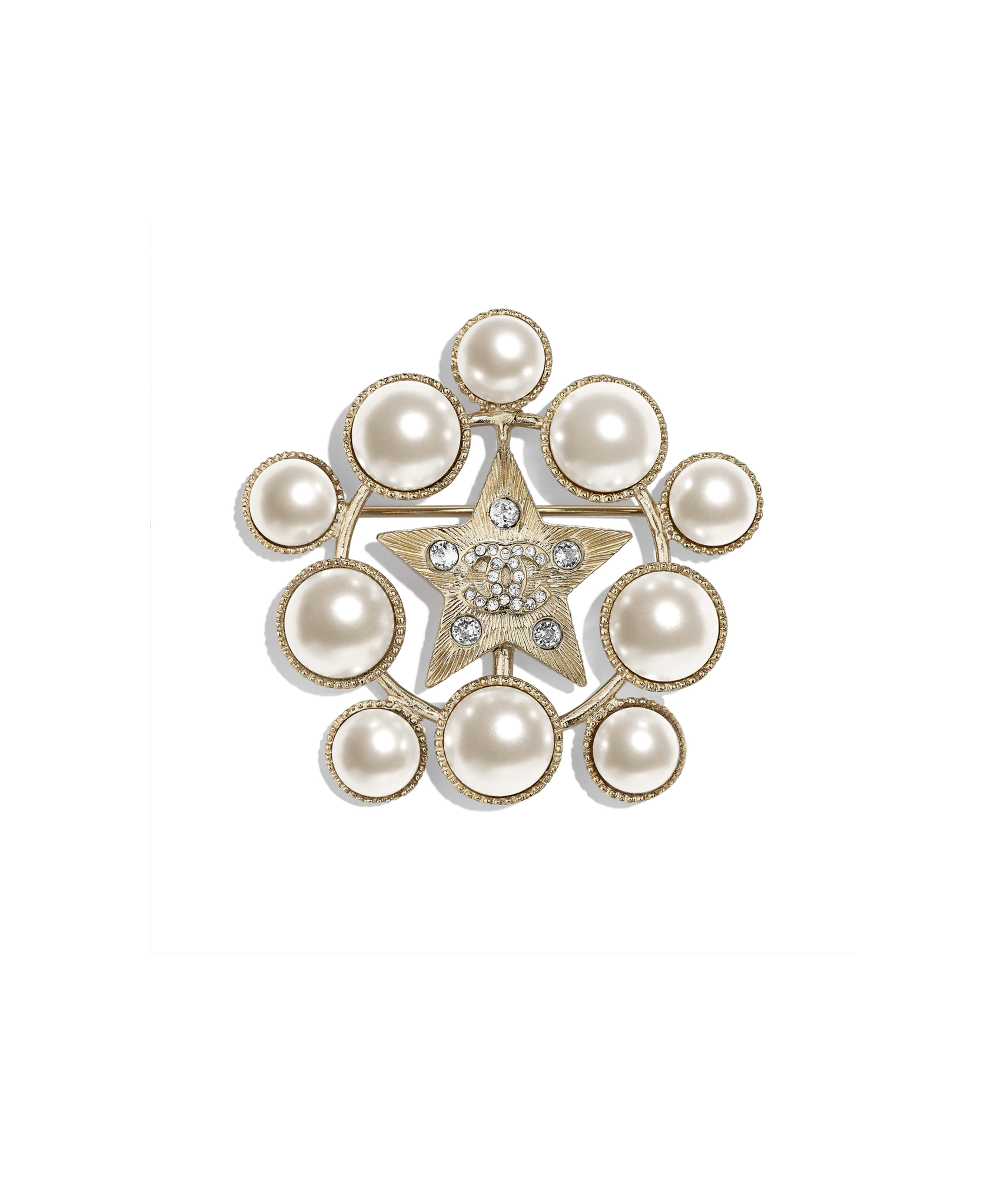 cf3d7c2d8a0 Brooch Metal, Glass Pearls & Strass, Gold, Pearly White & Crystal Ref.  AB2342Y47799Z2953