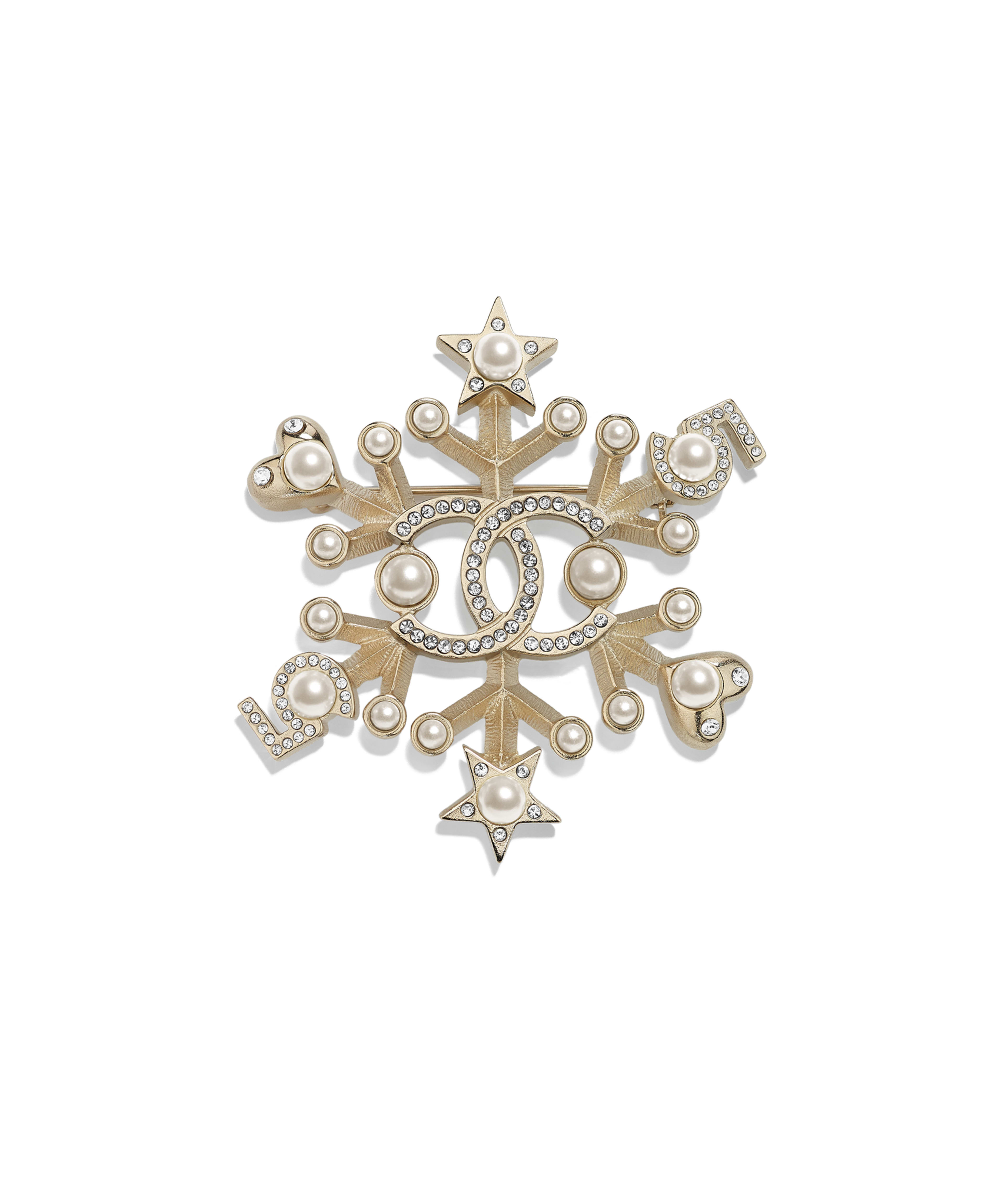 8a9778af652 Brooch Metal, Glass Pearls & Strass, Gold, Pearly White & Crystal Ref.  AB2343Y47799Z2953