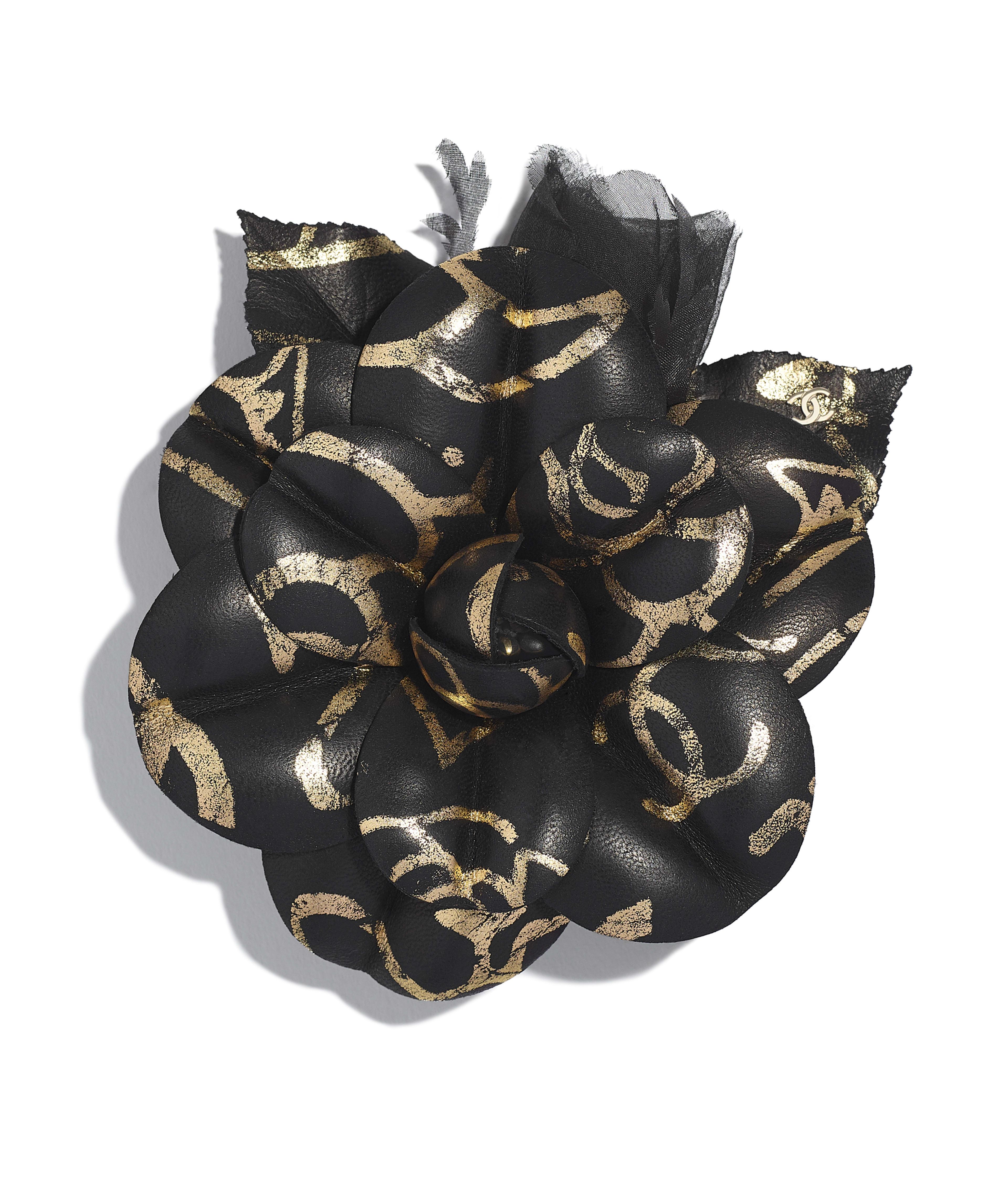 18746857c8916 Camellia Lambskin & Silk Muslin, Dark Gold & Black Ref. AA0644X12781C0286