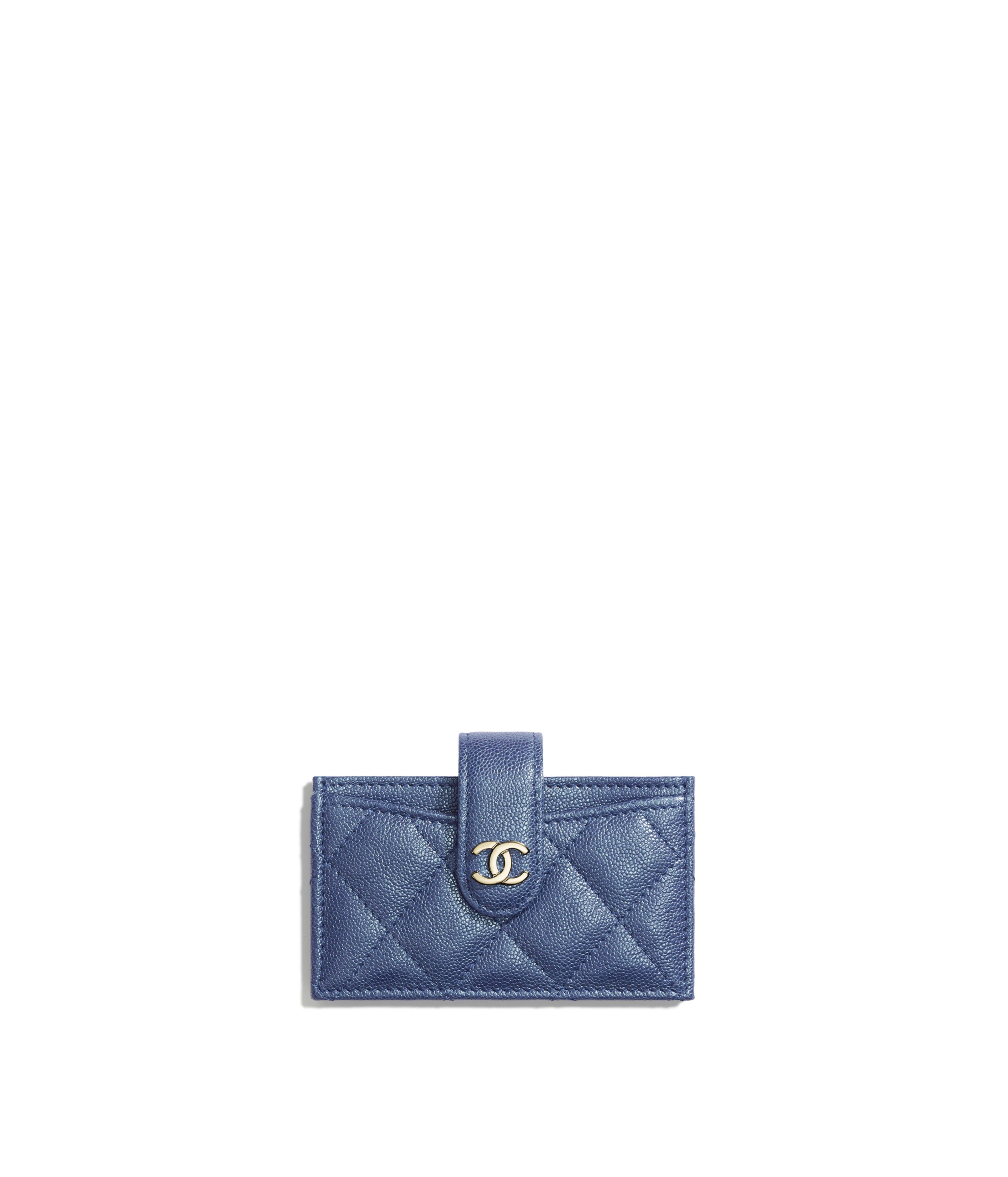 e40a88b76995 Card Holder Iridescent Grained Calfskin & Gold-Tone Metal, Dark Blue Ref.  AP0342B00357N0901