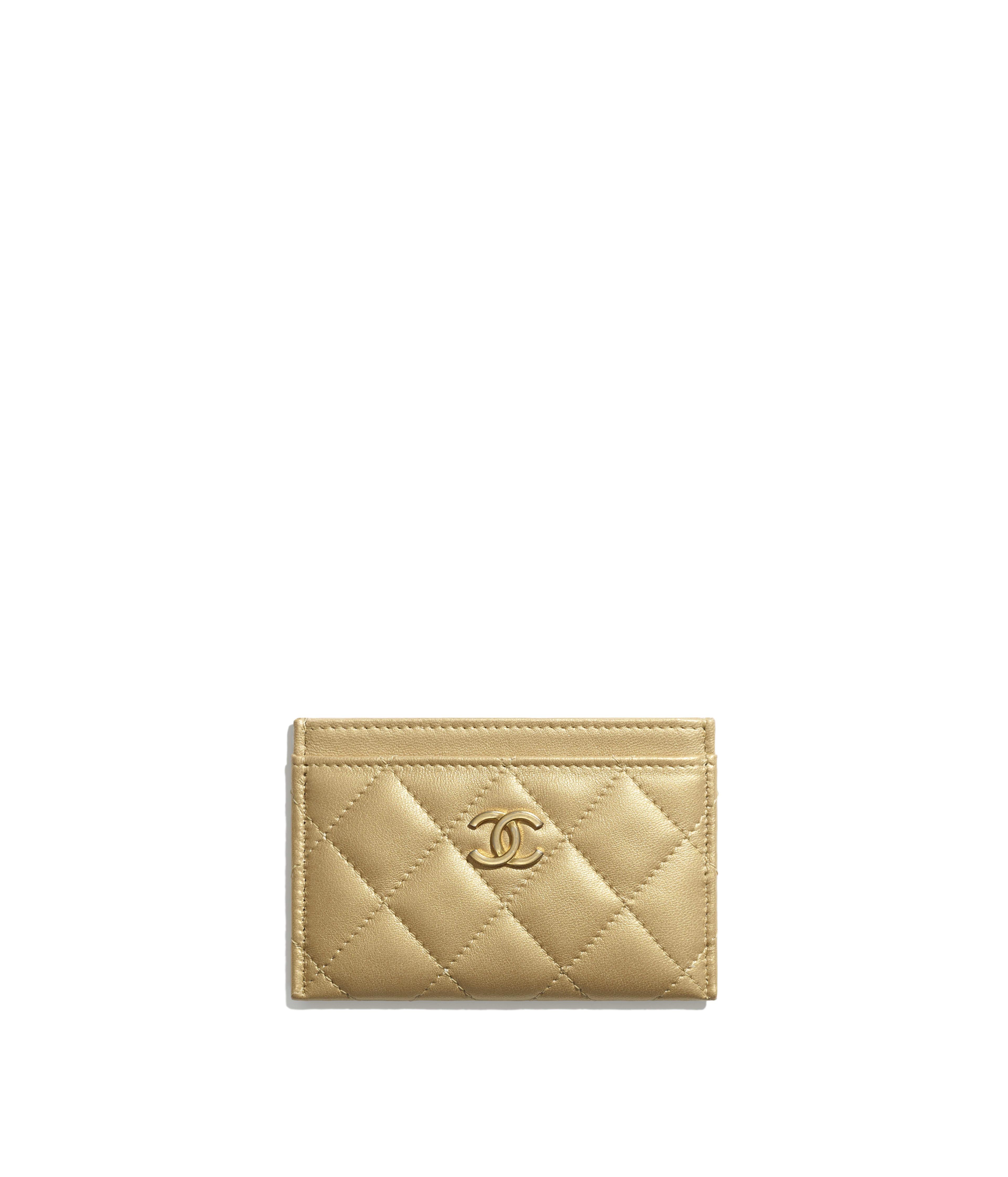 bced26afdb54 Card Holder Metallic Lambskin & Gold-Tone Metal, Gold Ref. AP0034B00881N4806