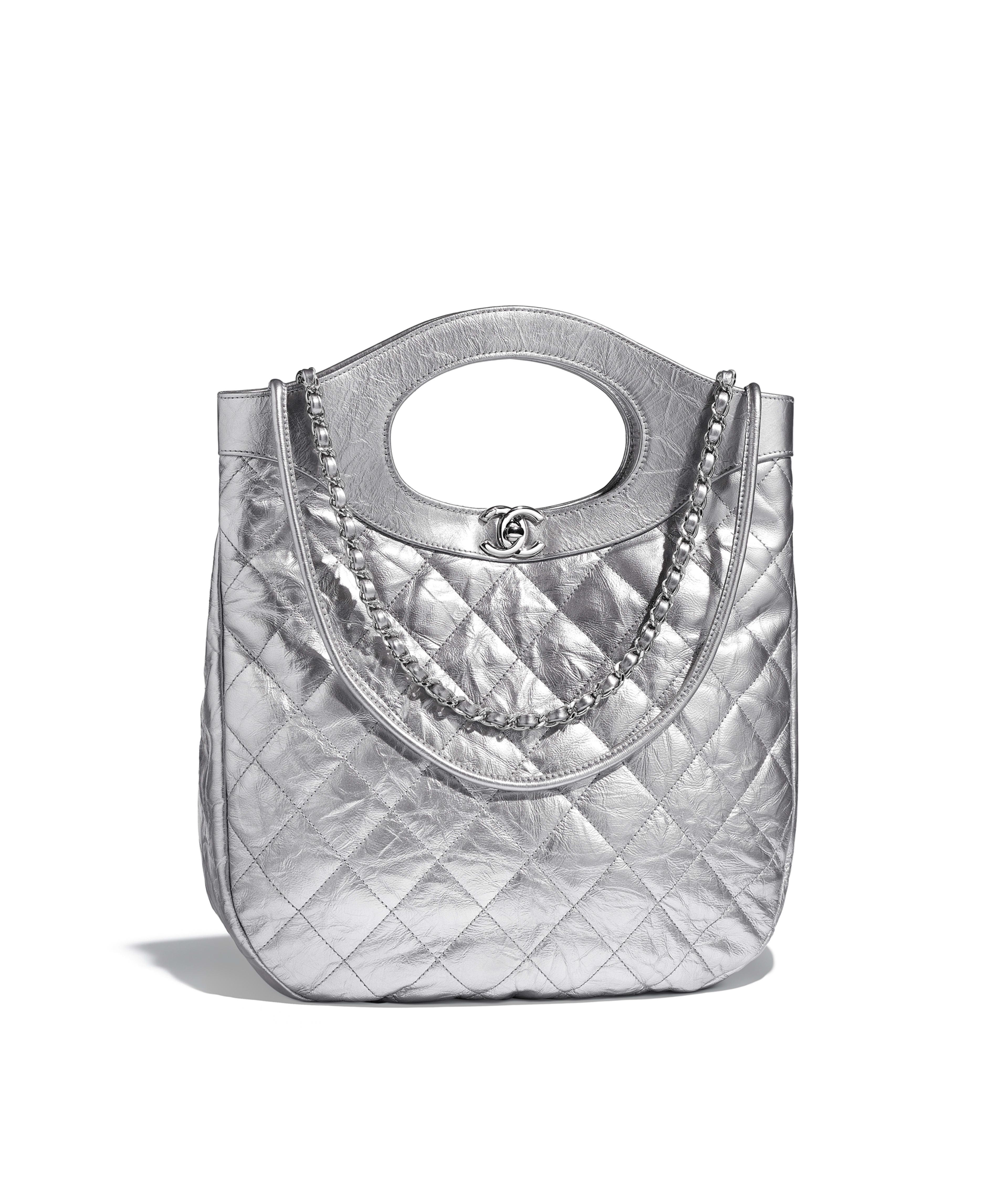 64608cf8522c CHANEL 31 Small Shopping Bag Metallic Crumpled Calfskin   Silver-Tone  Metal