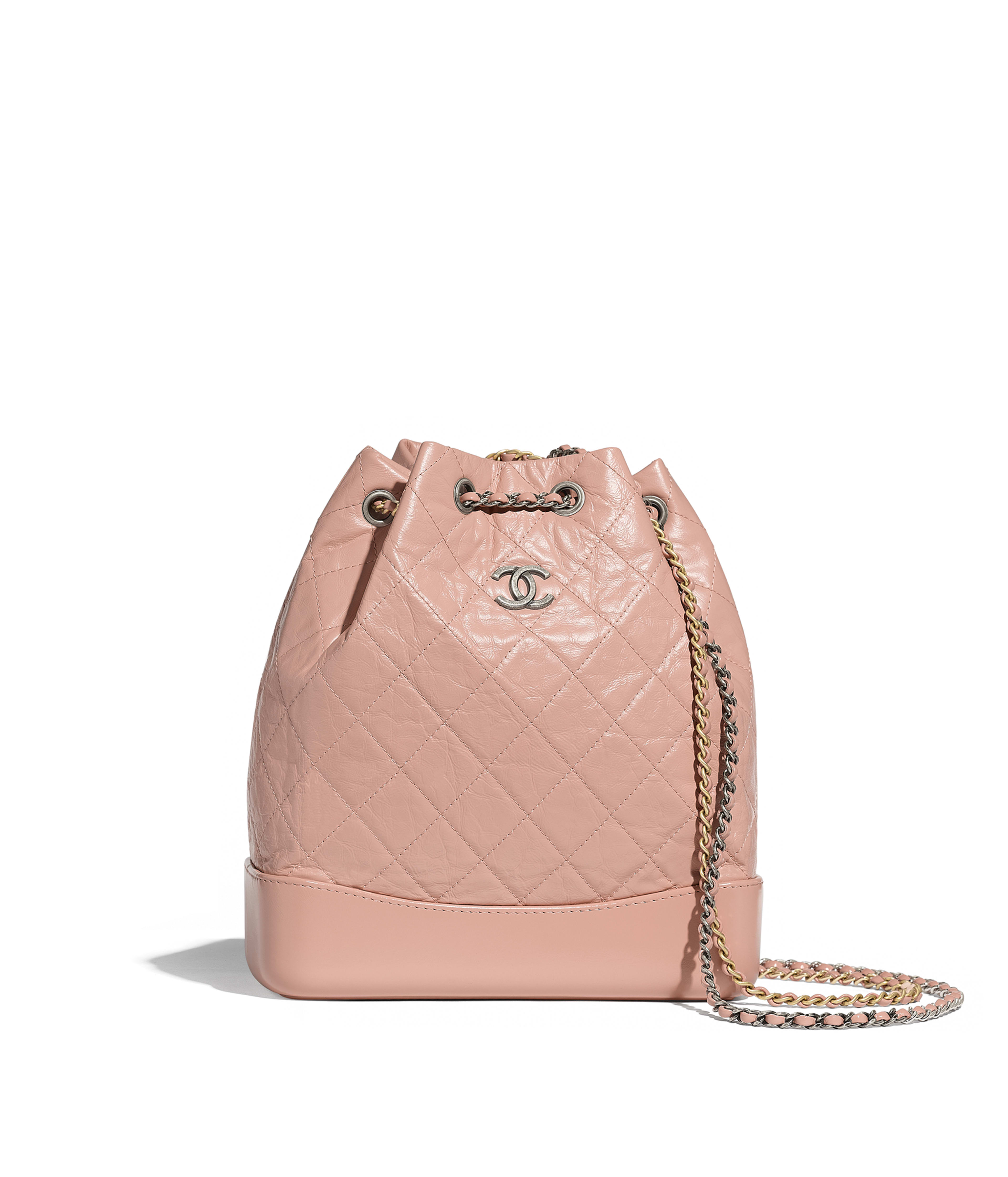 12568f155933 CHANEL'S GABRIELLE Backpack Aged Calfskin, Smooth Calfskin, Silver-Tone &  Gold-Tone Metal, Light Pink Ref. A94502Y61477N0430