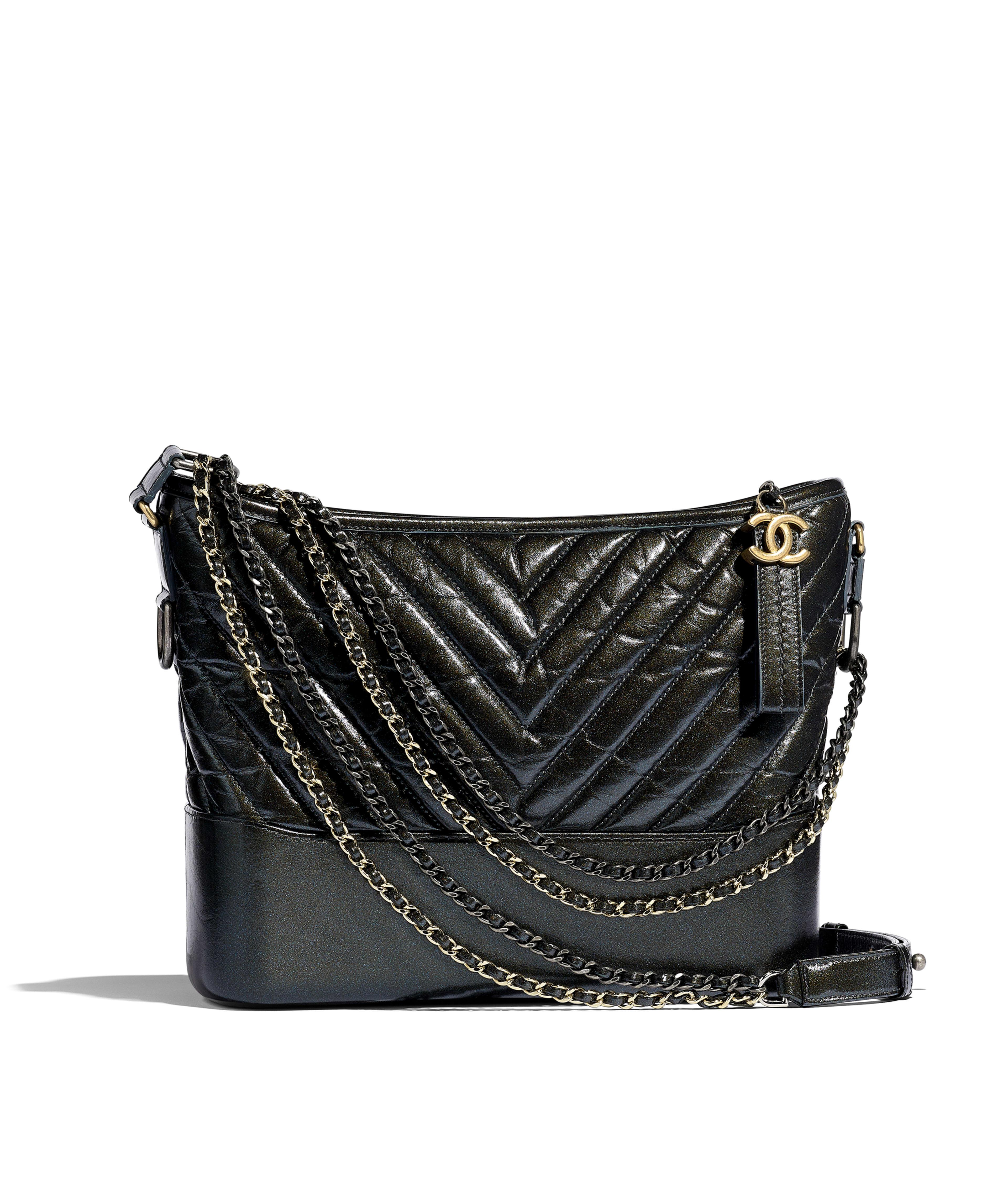36b640e00542a9 CHANEL'S GABRIELLE Hobo Bag Aged Calfskin, Silver-Tone & Gold-Tone Metal,  Dark Gray Ref. A93824B00877N4780