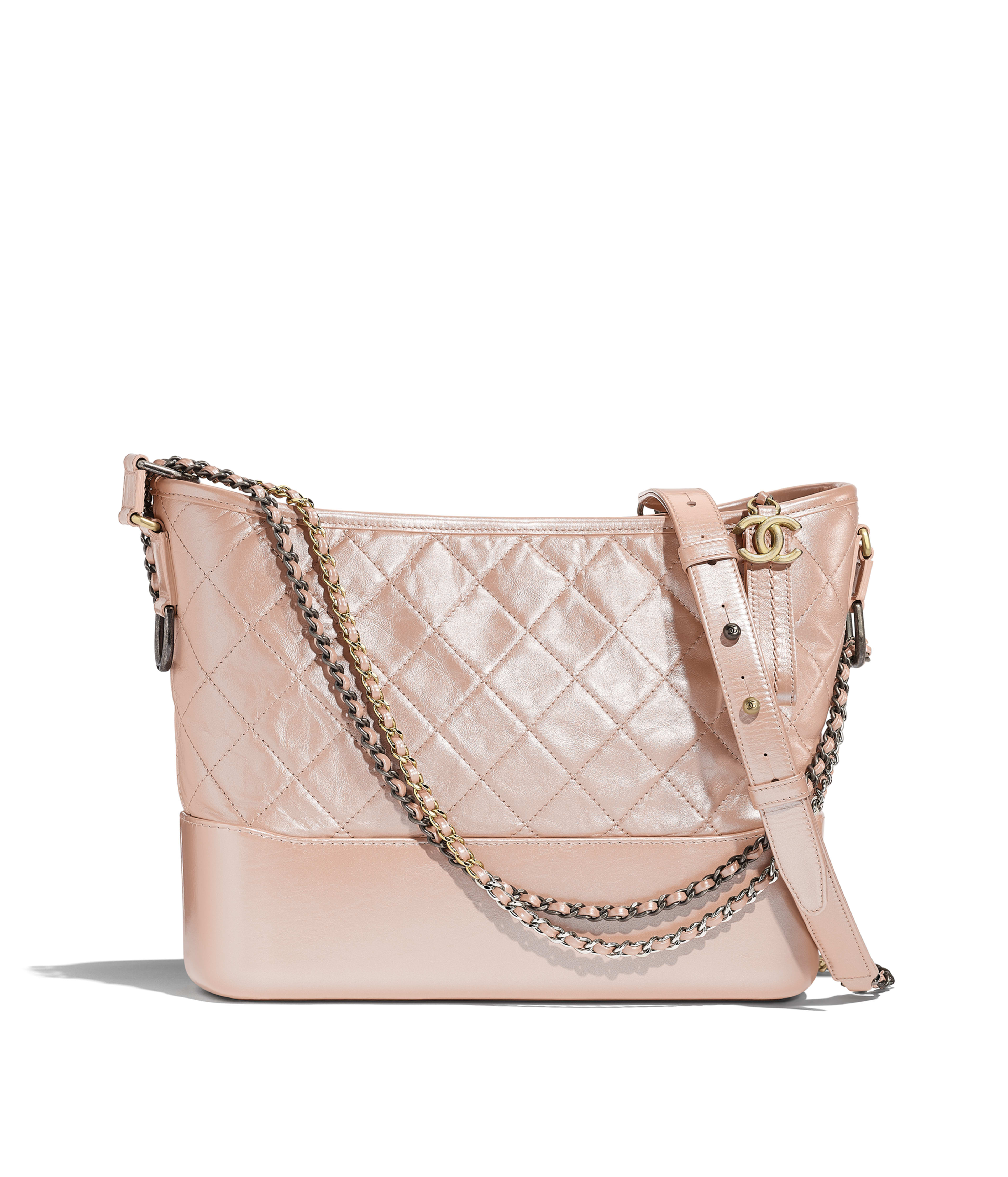 dee73d381c9758 CHANEL'S GABRIELLE Hobo Bag Iridescent Aged Calfskin, Gold-Tone &  Silver-Tone Metal, Light Pink Ref. A93824B00395N4464