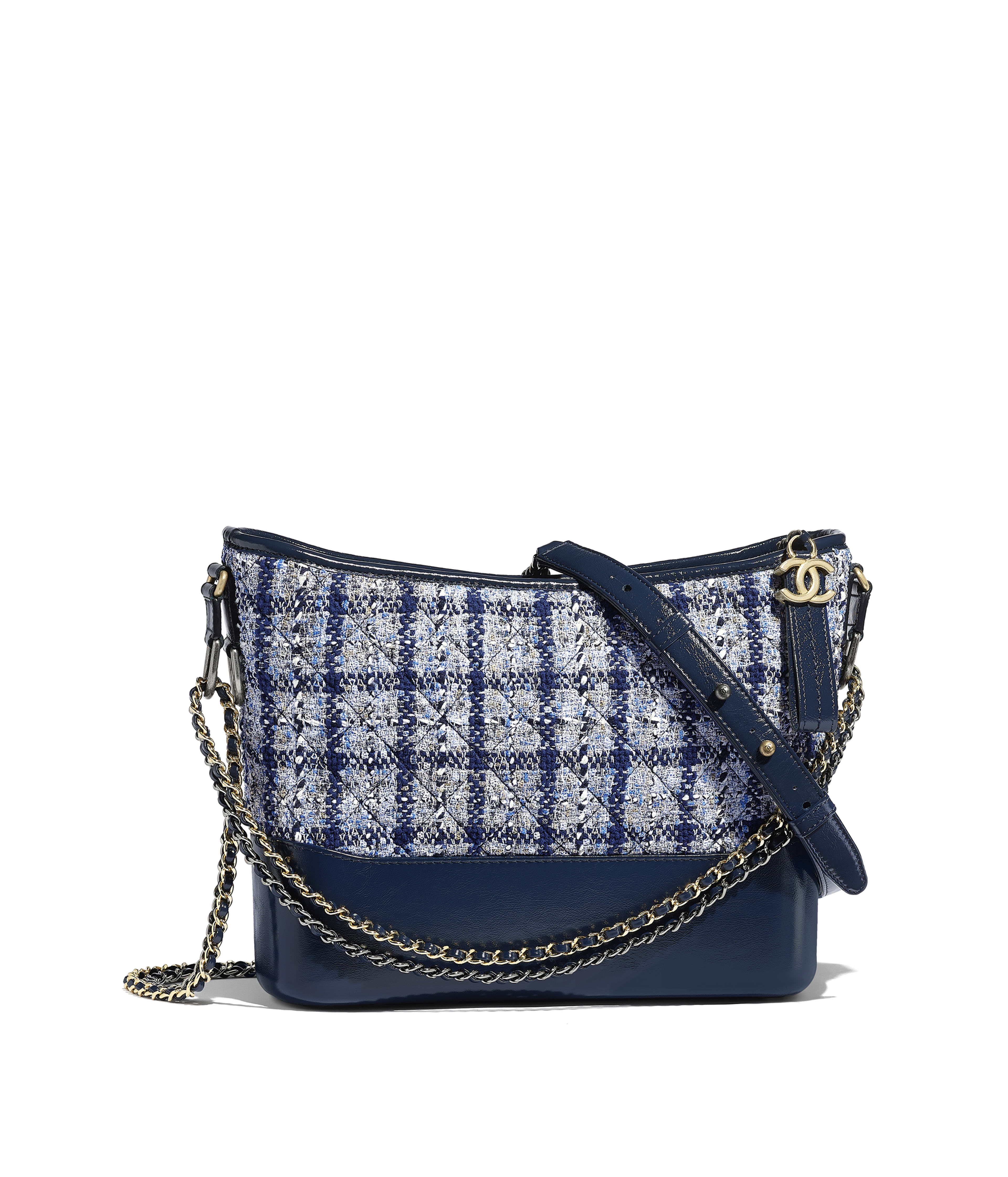780f859bd69c CHANEL'S GABRIELLE Hobo Bag Tweed, Calfskin, Silver-Tone & Gold-Tone Metal,  Navy Blue, White & Silver Ref. A93824Y84202K1382