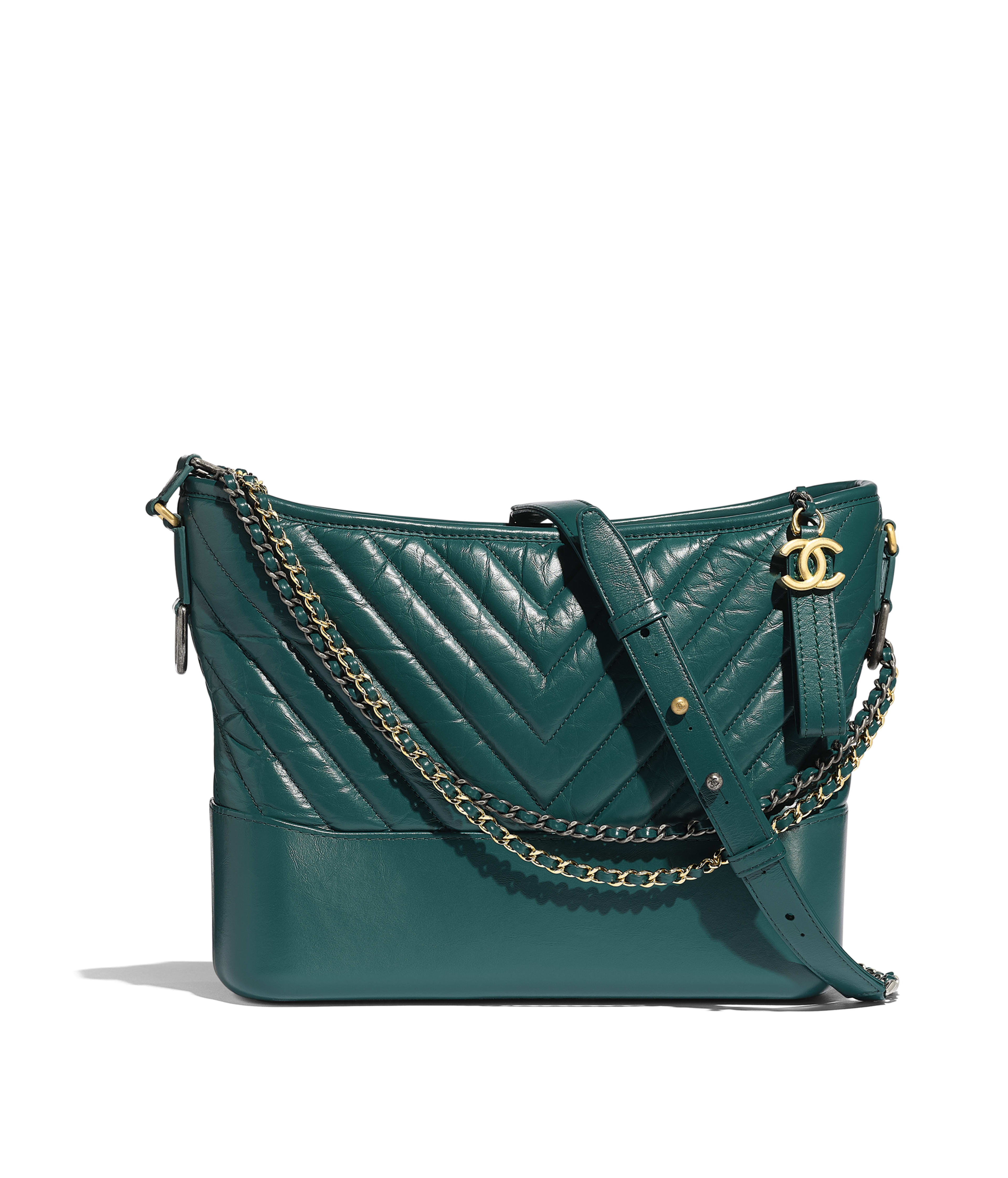 4879365ca27204 CHANEL'S GABRIELLE Hobo Bag Aged Calfskin, Smooth Calfskin, Gold-Tone &  Silver-Tone Metal, Turquoise Ref. A93824Y83824N0415