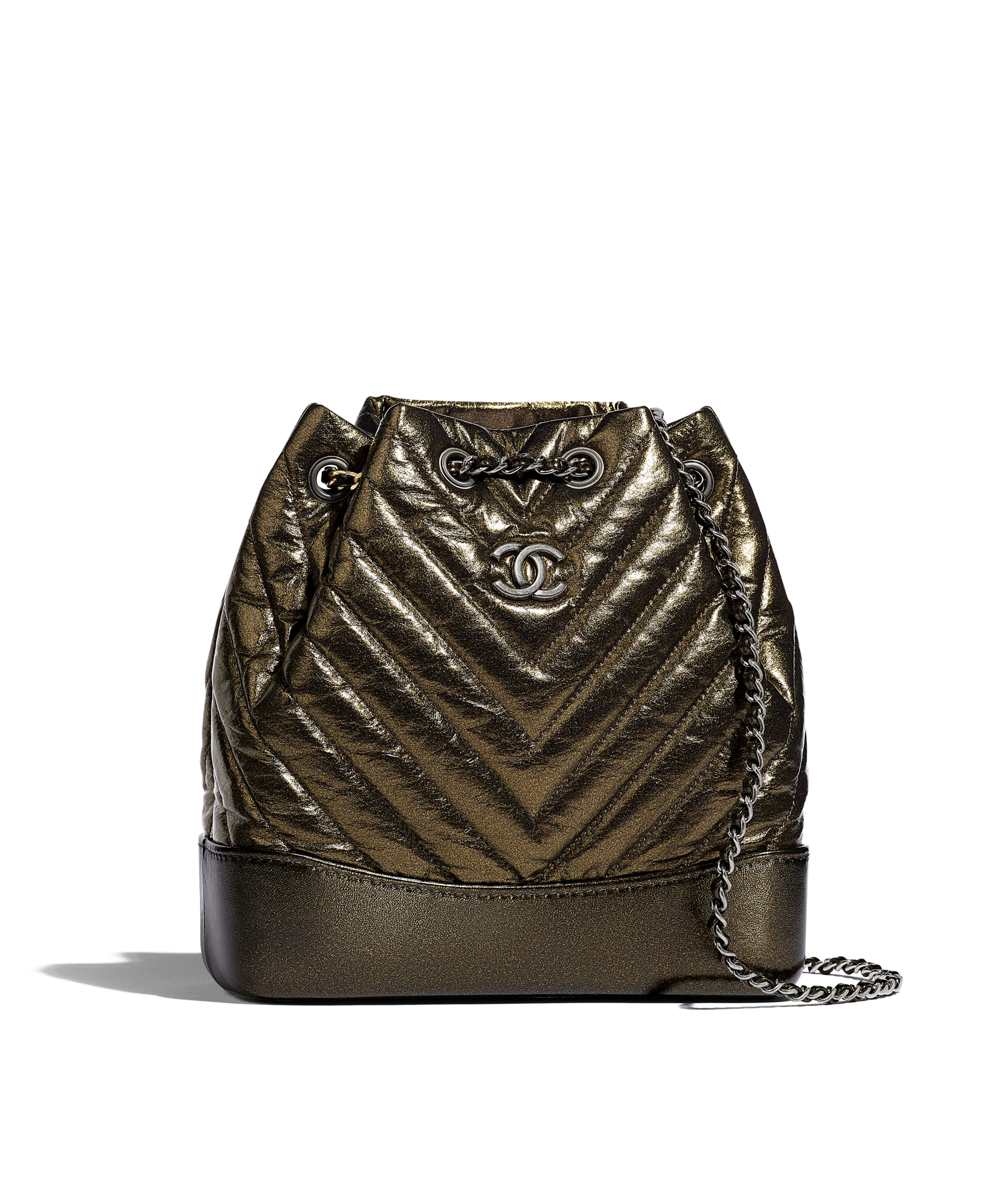 45ef81e083b3 CHANEL'S GABRIELLE Small Backpack Aged Calfskin, Silver-Tone & Gold-Tone  Metal, Gold Ref. A94485B00877N4779