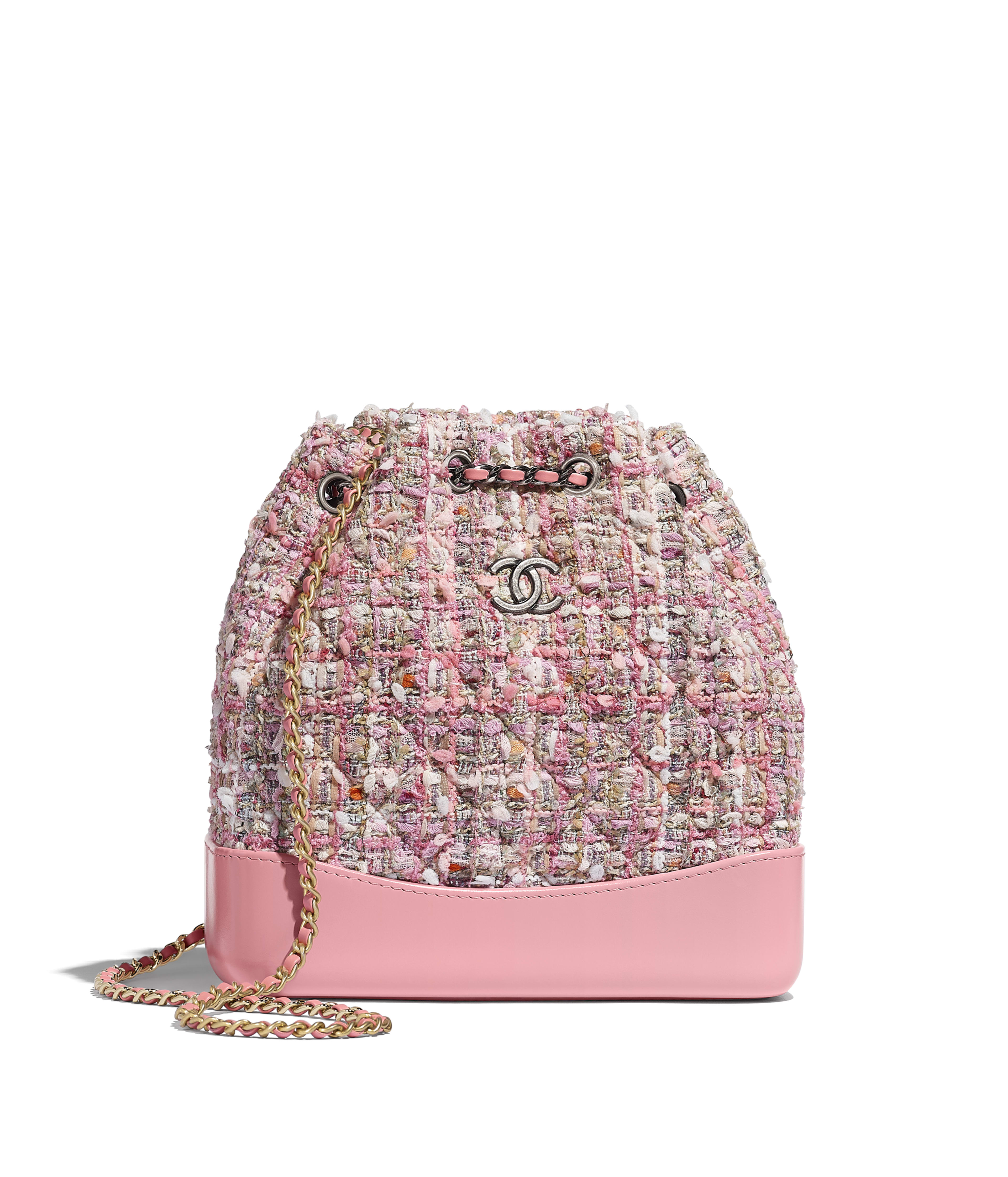 df0b62b385f5 CHANEL'S GABRIELLE Small Backpack Tweed, Shiny Calfskin & Gold-Tone & Silver-Tone  Metal, Pink, Beige, Orange & Ecru Ref. A94485B00393N4341