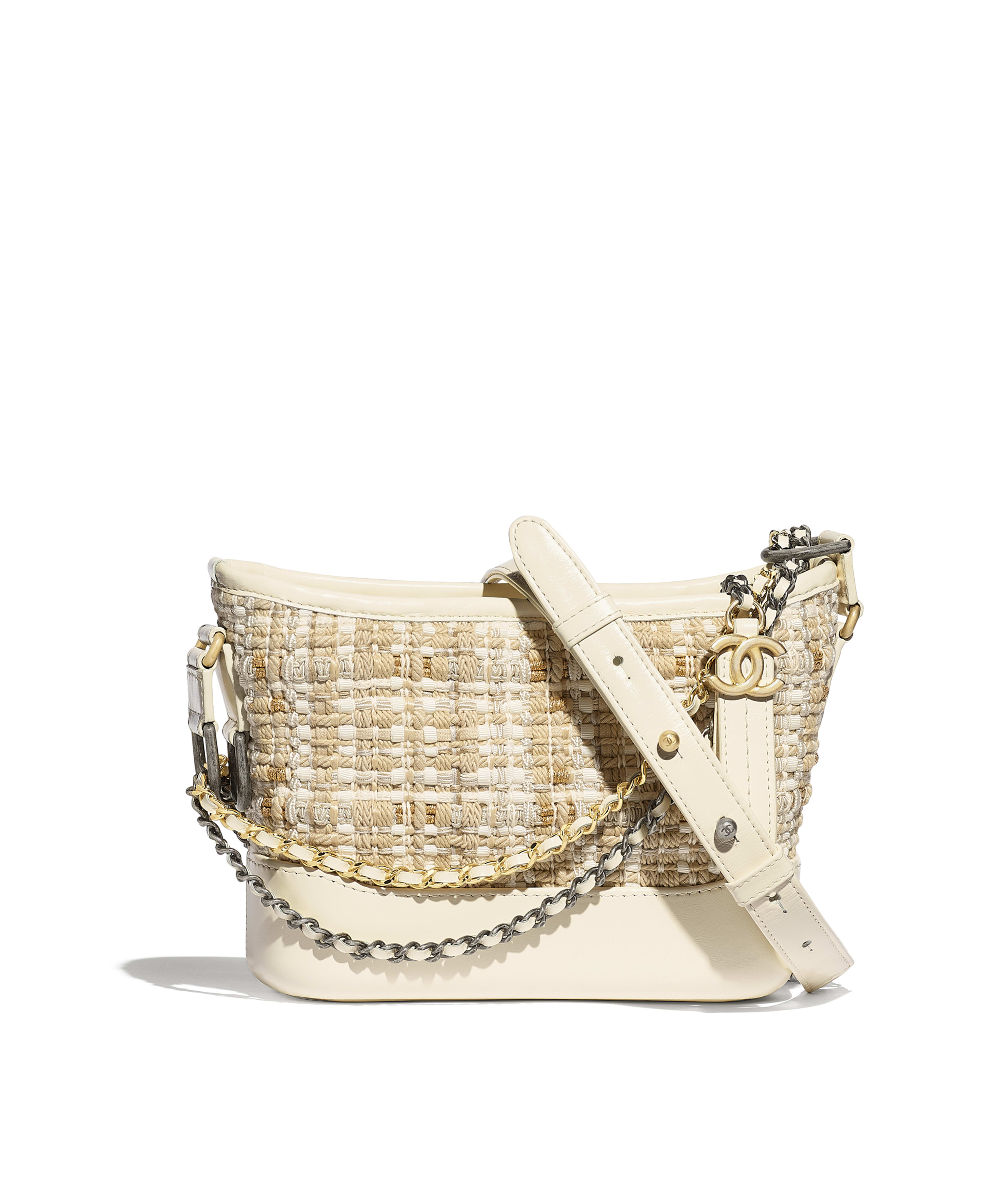 50d4ce05238b CHANEL'S GABRIELLE Small Hobo Bag Tweed, Calfskin, Gold-Tone & Silver-Tone  Metal, Beige & Ivory Ref. A91810B00026N0813