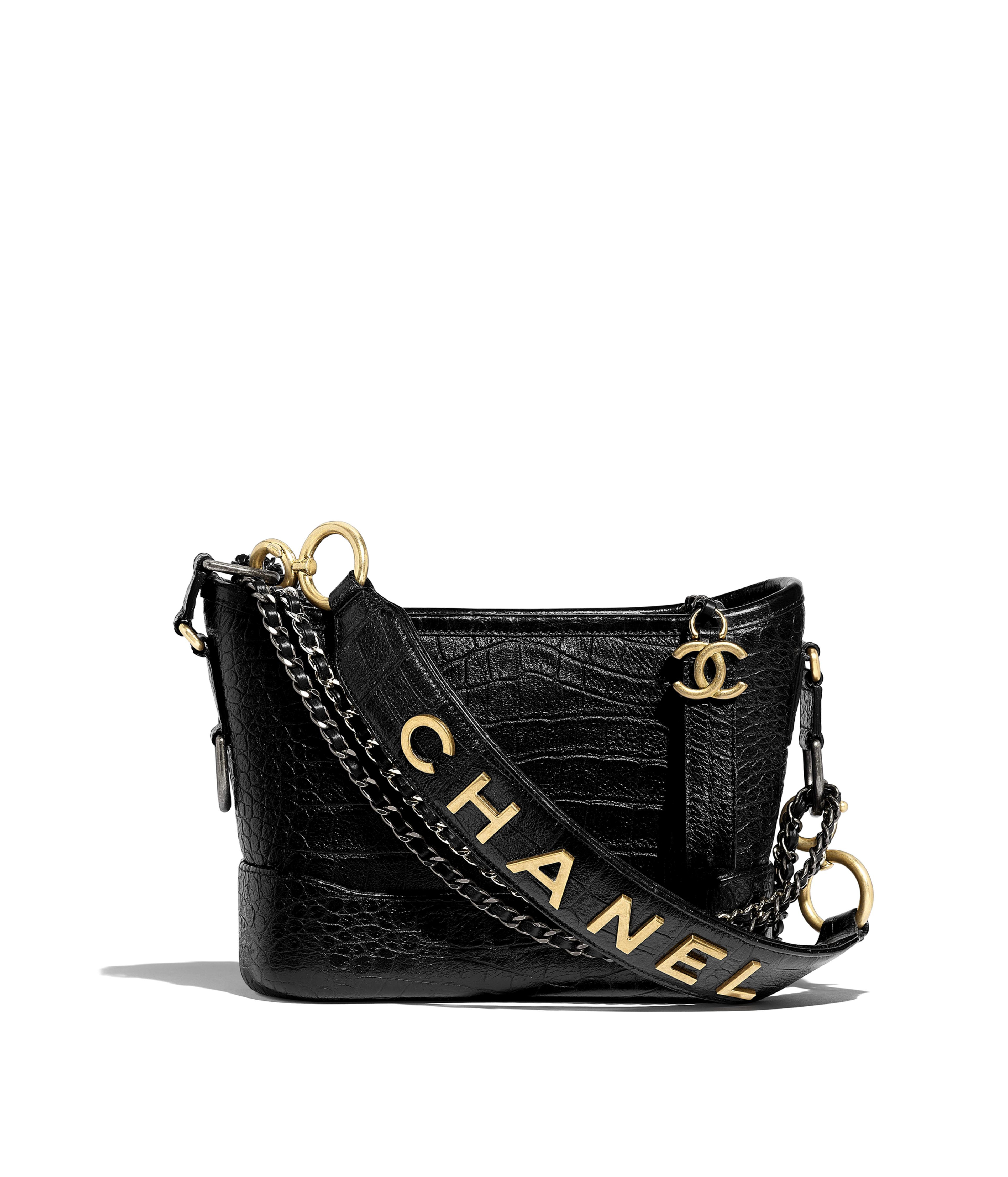 1a0da231fa85 CHANEL'S GABRIELLE Small Hobo Bag Crocodile Embossed Calfskin, Gold-Tone &  Silver-Tone Metal, Black Ref. AS0865B0081594305