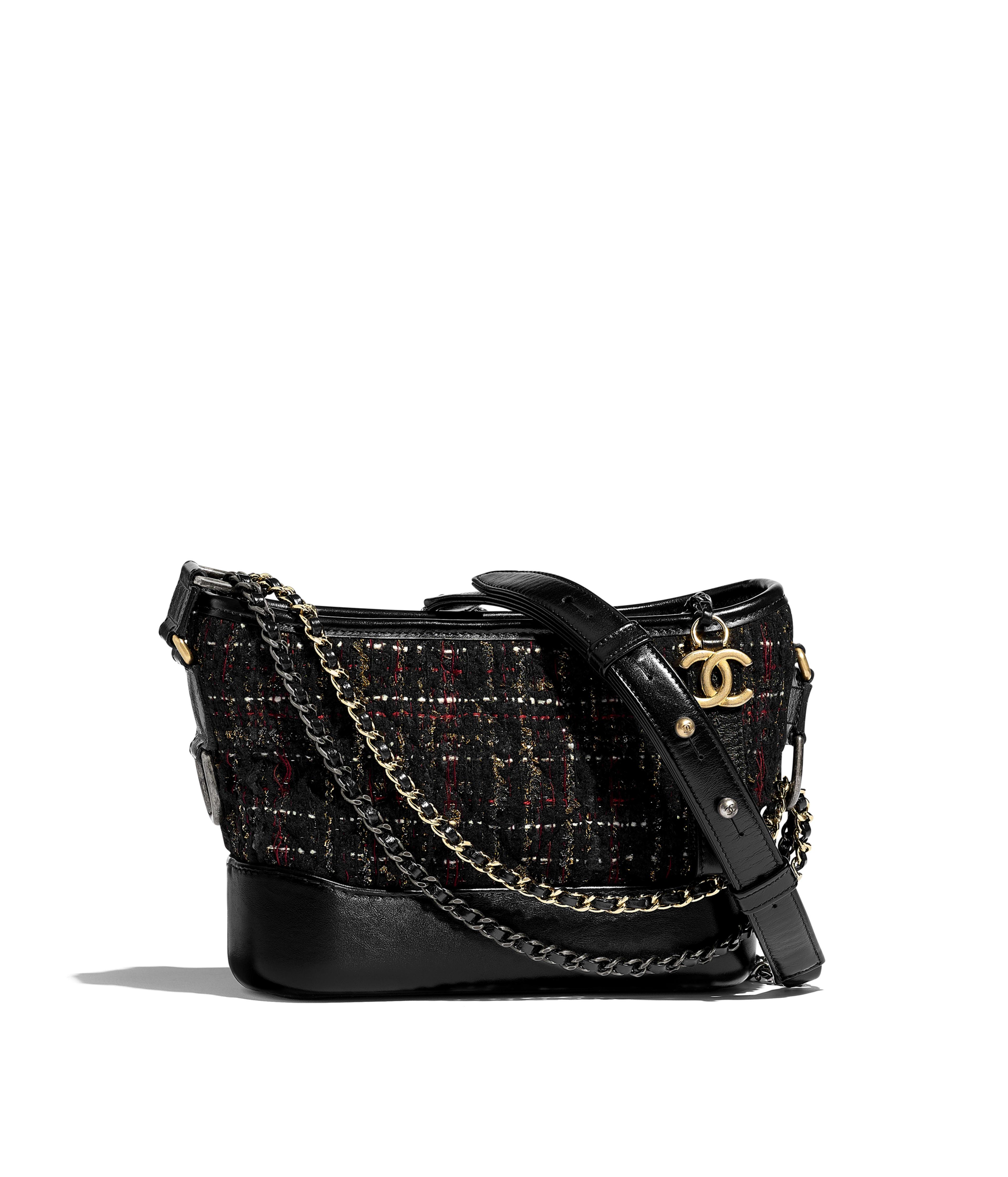 b477a926511fb2 CHANEL'S GABRIELLE Small Hobo Bag Tweed, Calfskin, Gold-Tone & Silver-Tone  Metal, Black, Red, Gold & Ecru Ref. A91810B00907N4781