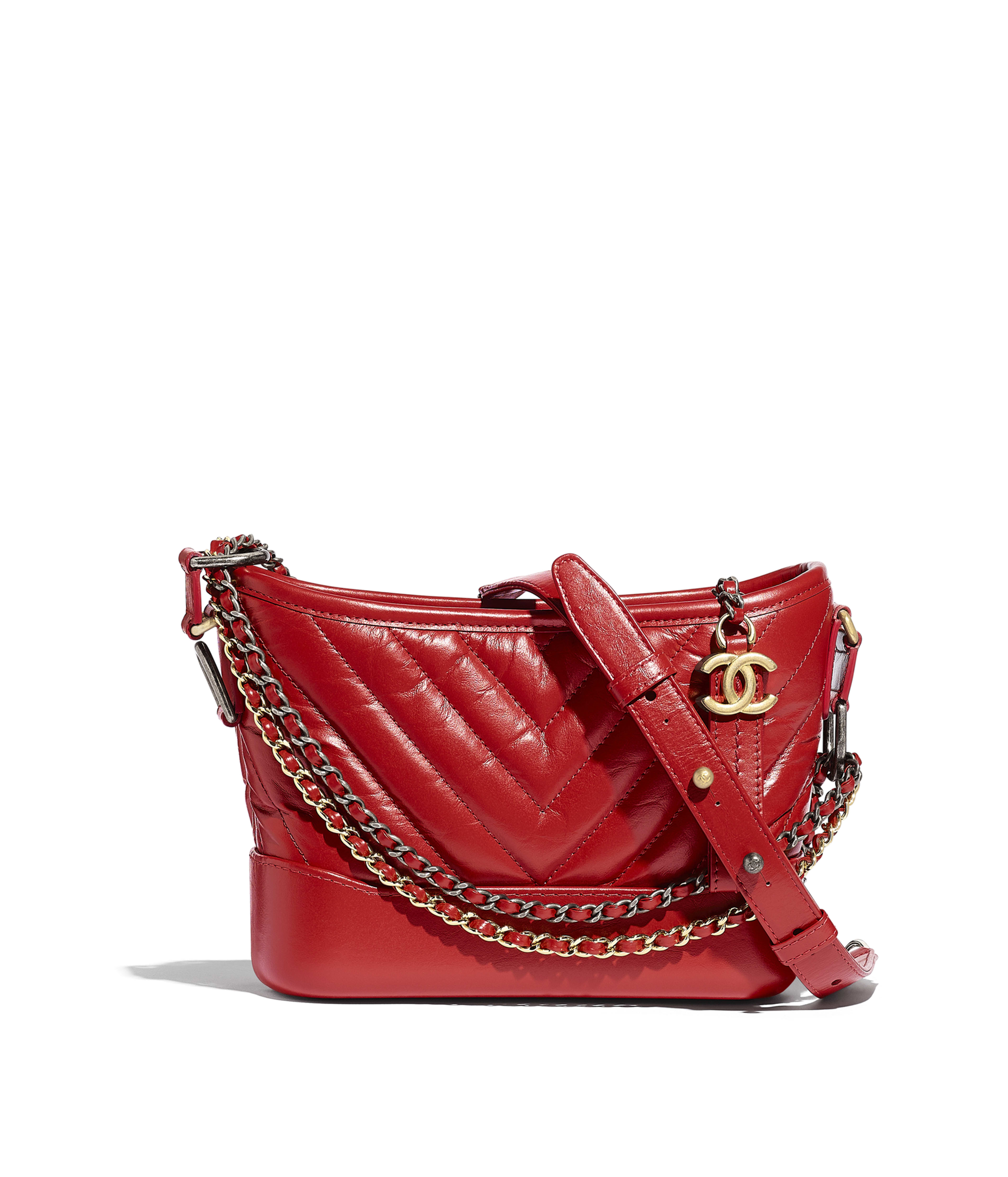 92dfaaa9e232 CHANEL'S GABRIELLE Small Hobo Bag Aged Calfskin, Smooth Calfskin, Gold-Tone  & Silver-Tone Metal, Dark Red Ref. A91810Y83824N0431