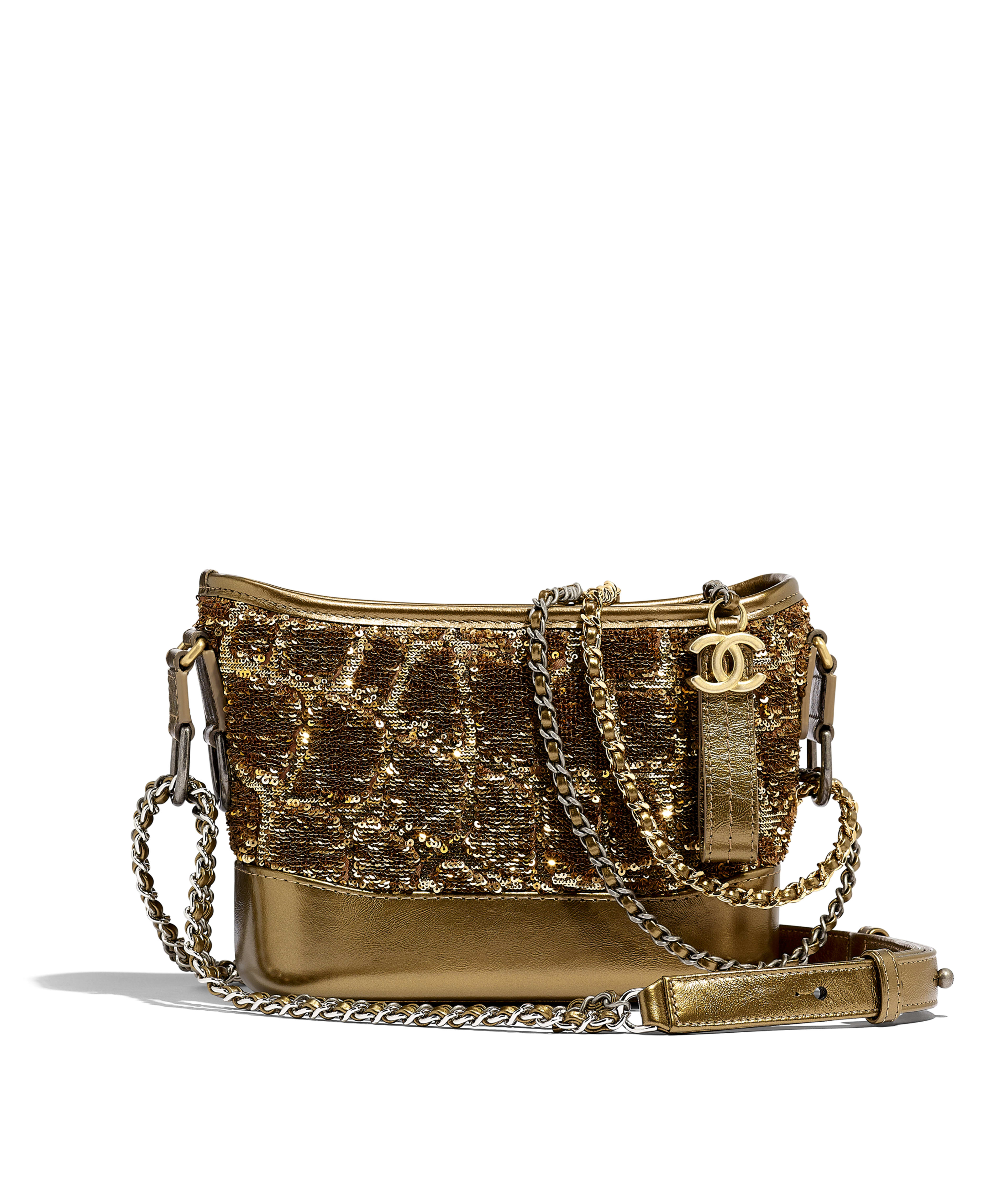 3db85b76d644 CHANEL'S GABRIELLE Small Hobo Bag Sequins, Calfksin, Silver-Tone &  Gold-Tone Metal, Gold & Copper Ref. A91810B00883N4739