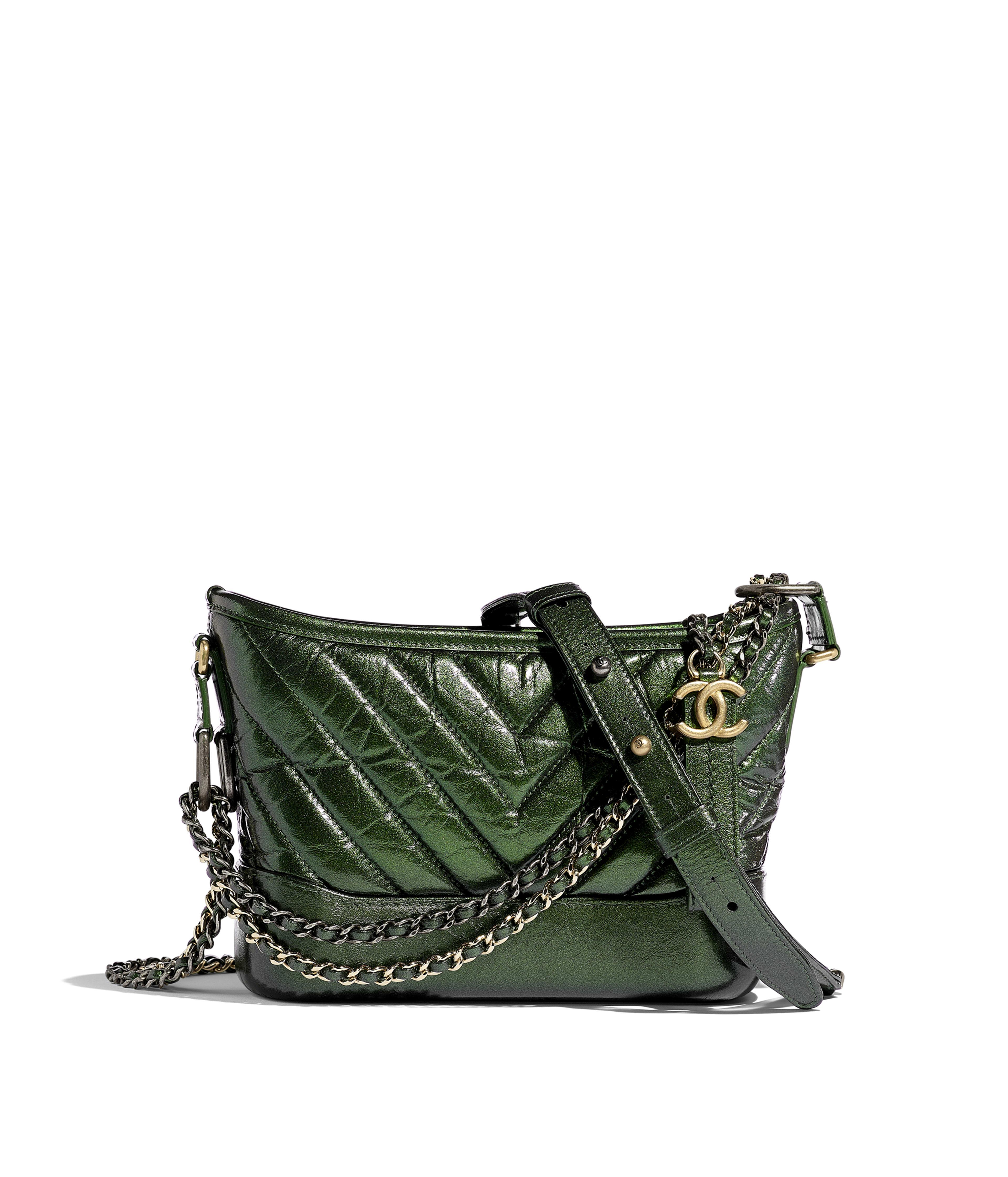 1d40ae0b0e2736 CHANEL'S GABRIELLE Small Hobo Bag Aged Calfskin, Silver-Tone & Gold-Tone  Metal, Green Ref. A91810B00877N4709