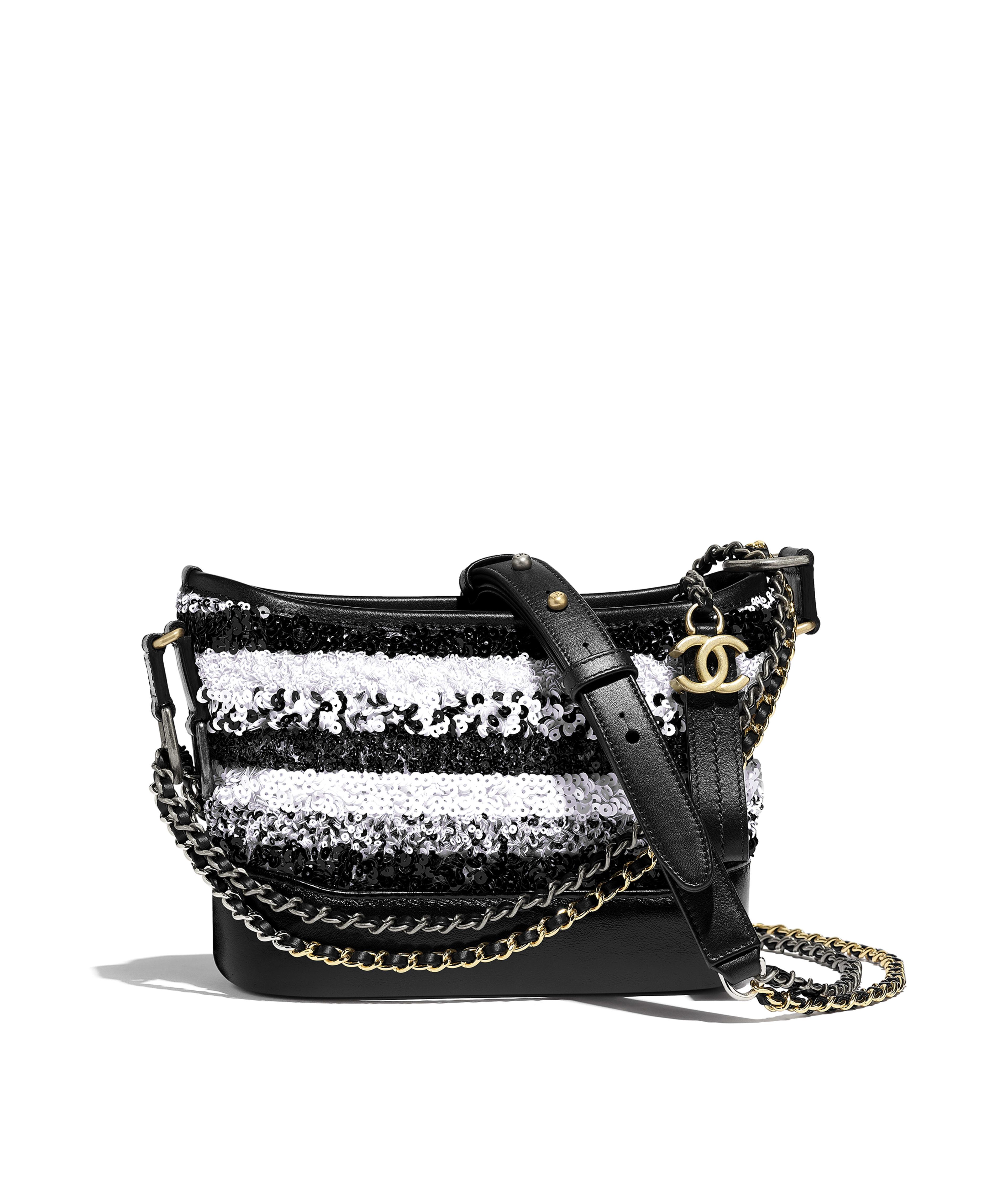 3305744255e56f CHANEL'S GABRIELLE Small Hobo Bag Sequins, Calfksin, Silver-Tone &  Gold-Tone Metal, White & Black Ref. A91810Y84186C7600