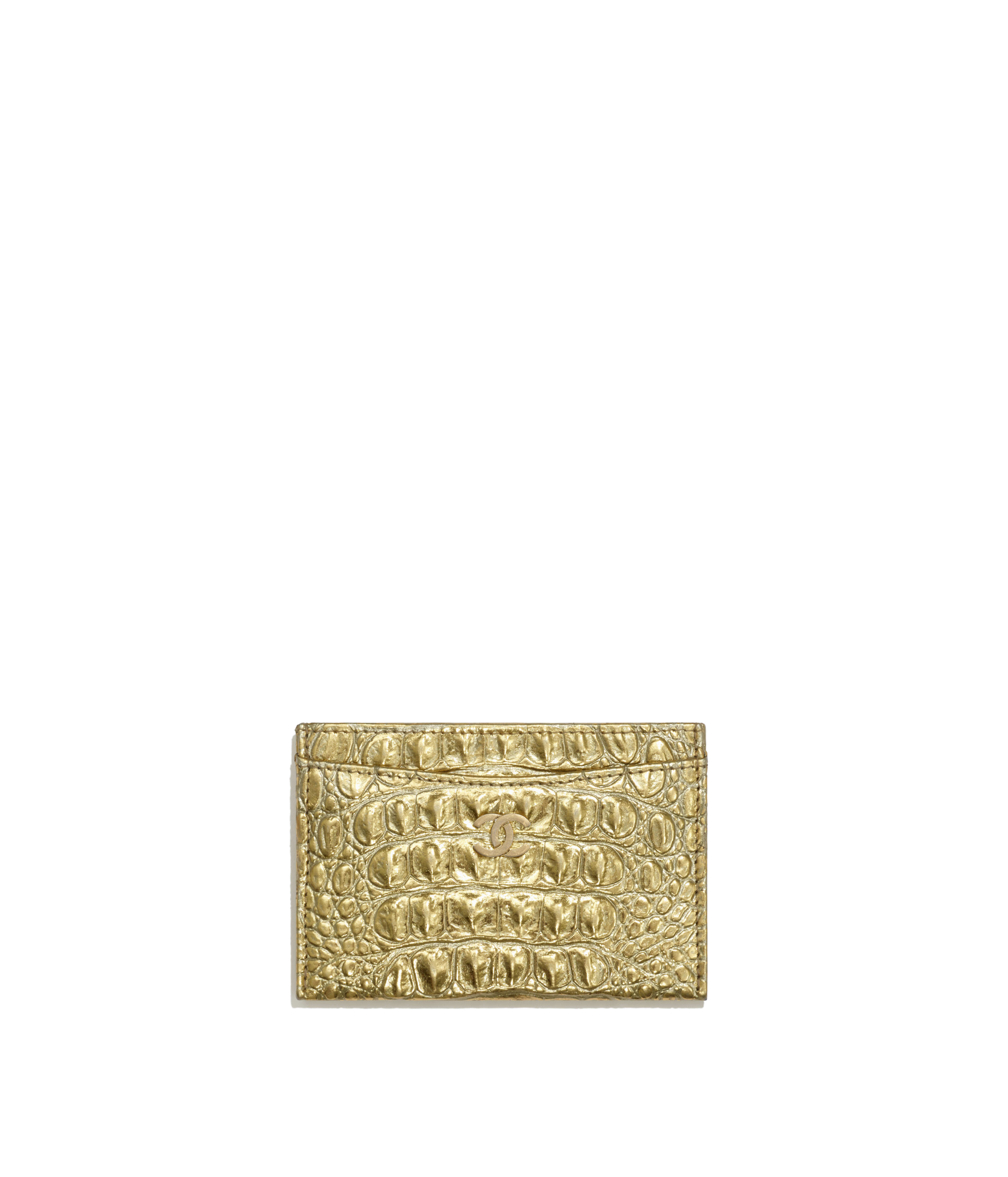 e4ea68850662 Classic Card Holder Metallic Crocodile Embossed Calfskin & Gold Metal, Gold  Ref. A31510B00798N4752