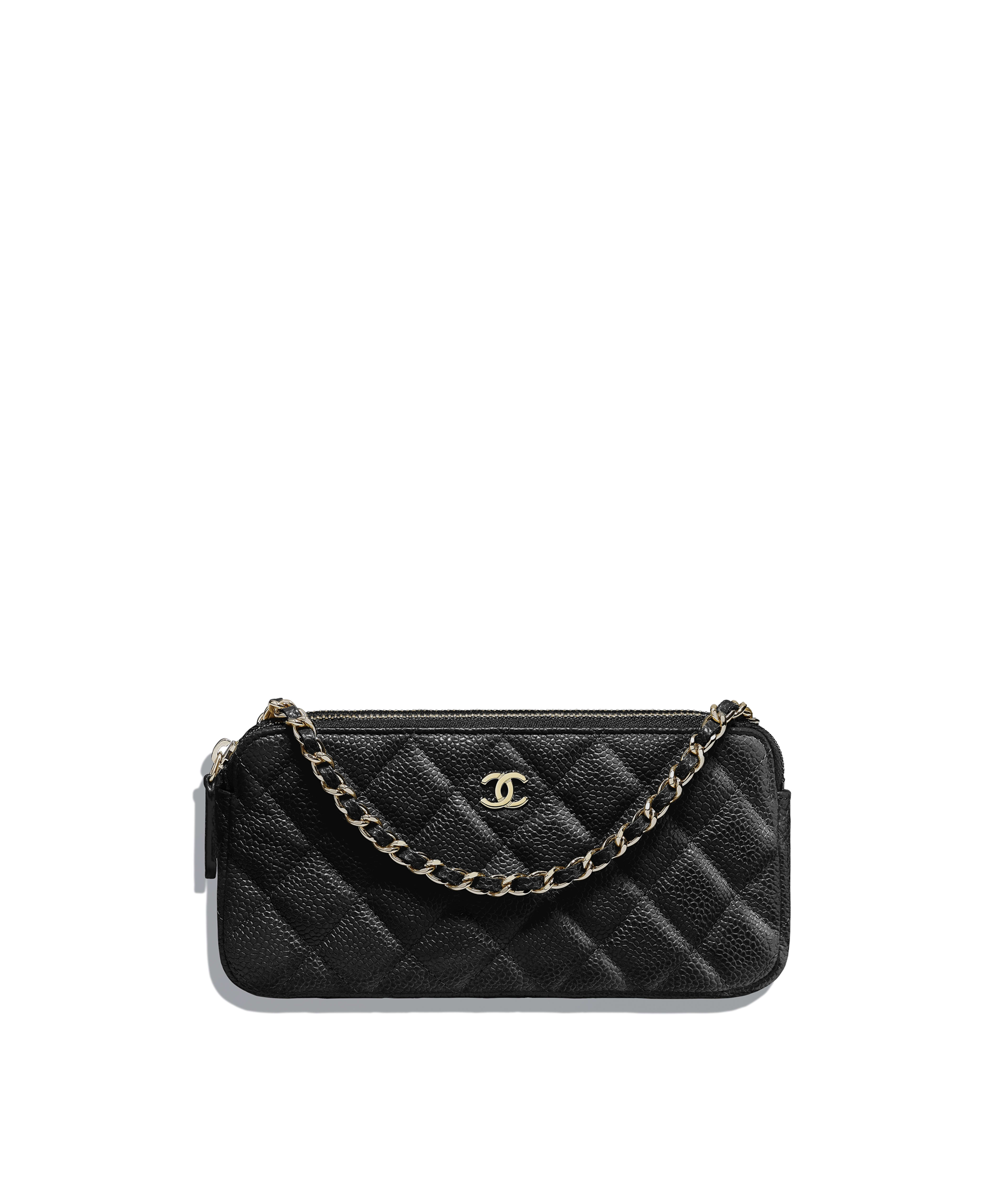 676dc7e445b2 Classic Clutch with Chain Grained Calfskin & Gold-Tone Metal, Black Ref.  A82527Y83470C3906
