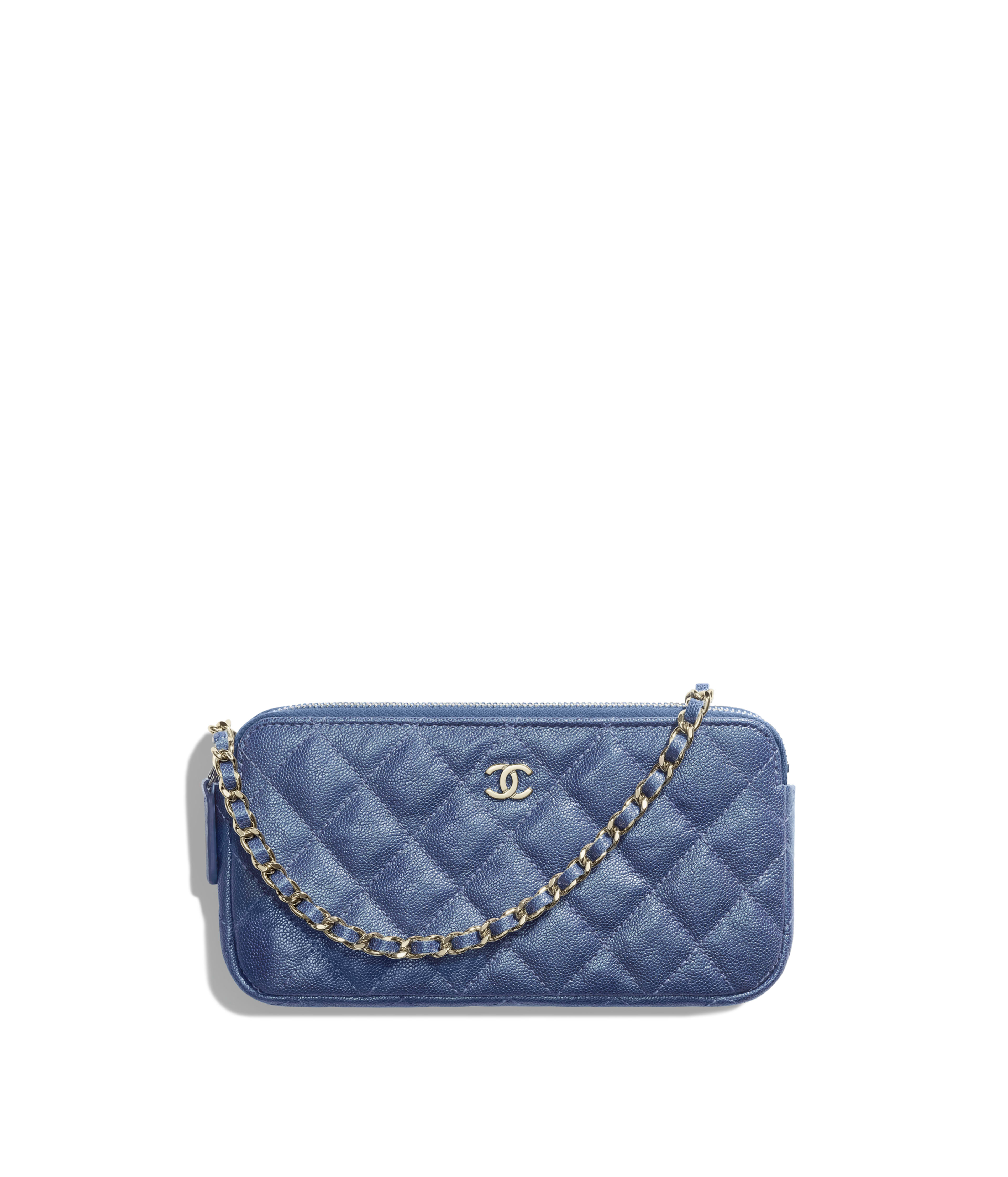 a28b53b95088f Classic Clutch with Chain Iridescent Grained Calfskin   Gold-Tone Metal