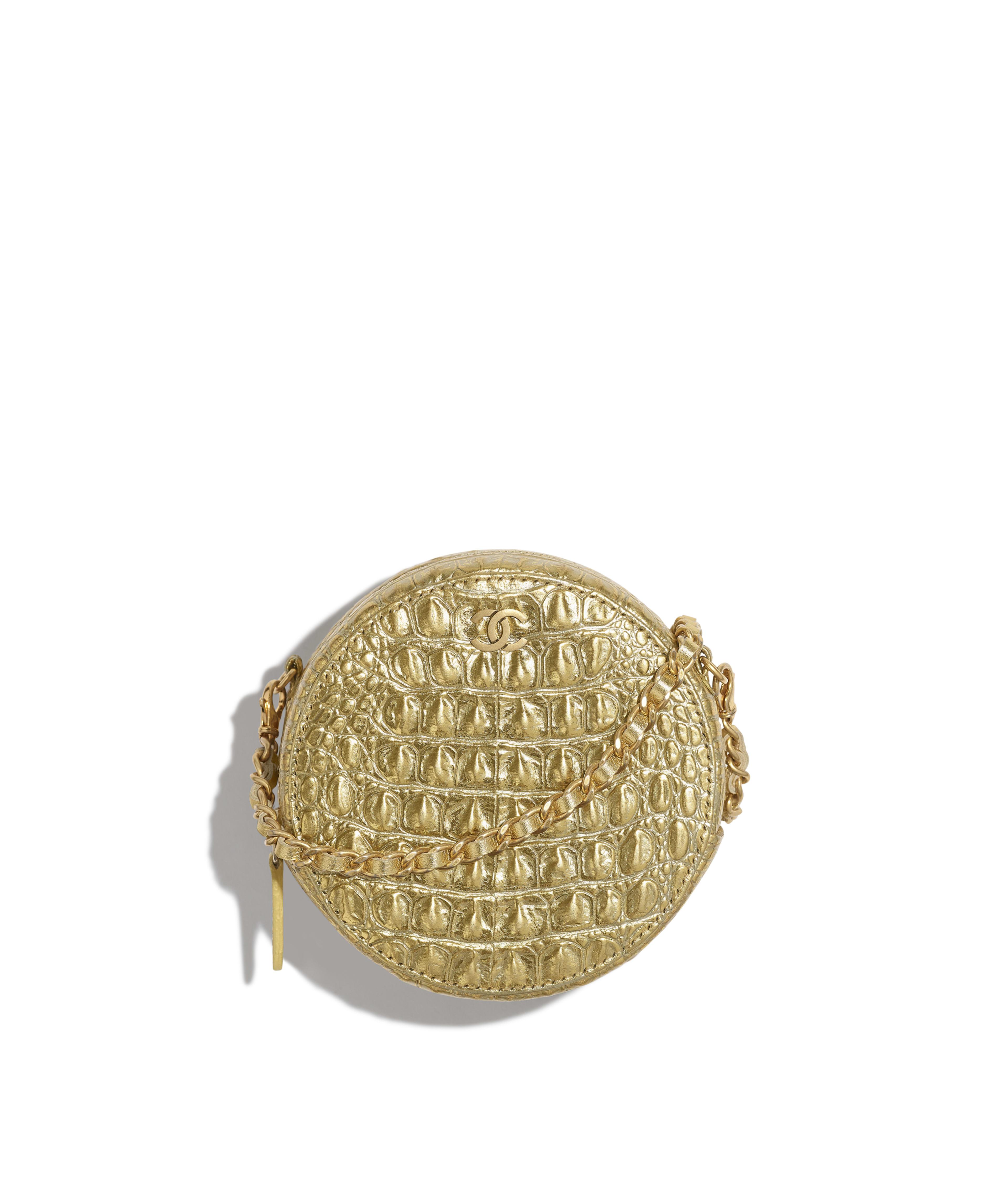 5dbd36d1dedfd4 Classic Clutch with Chain Metallic Crocodile Embossed Calfskin & Gold  Metal, Gold Ref. AP0366B00798N4752
