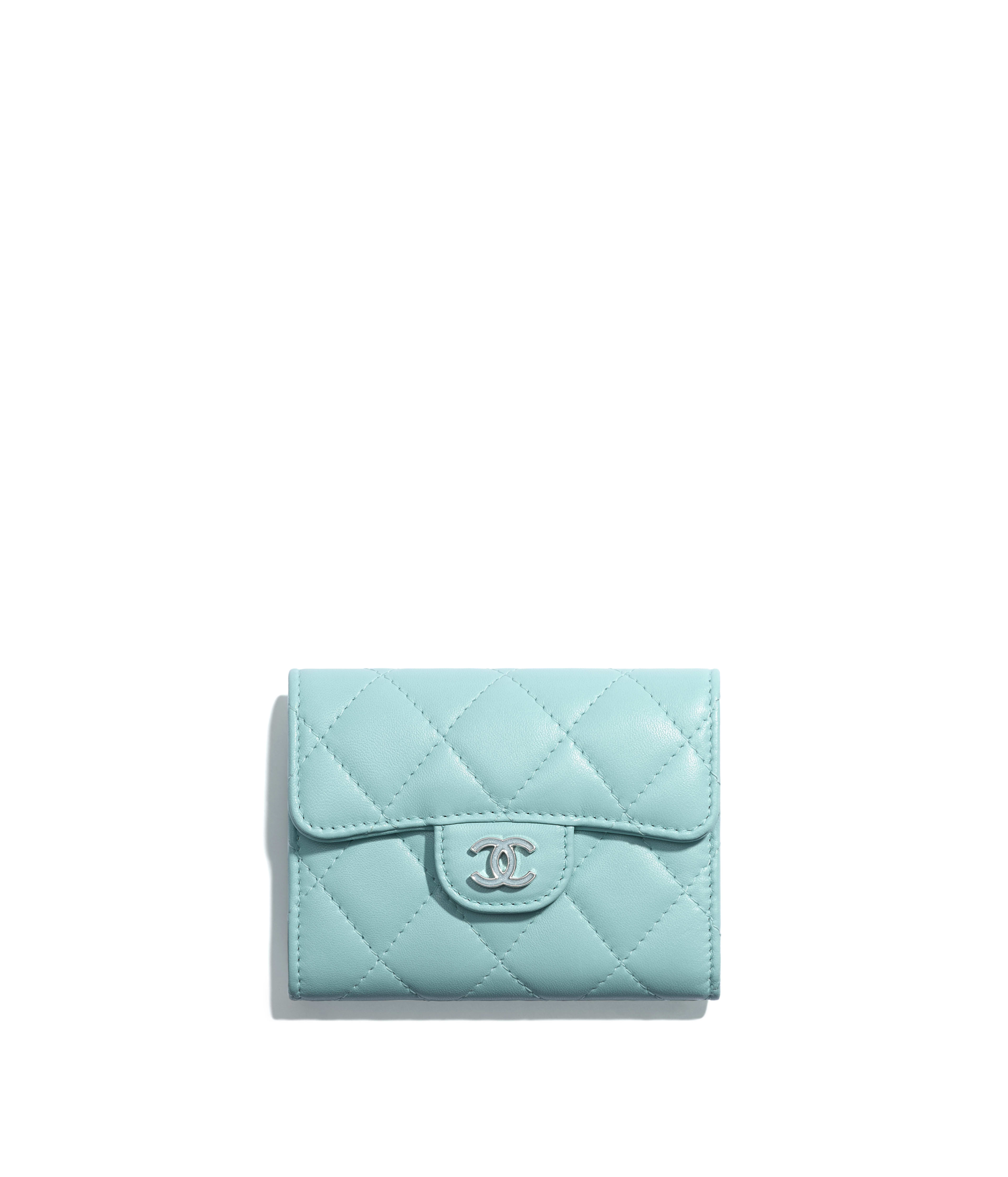 636dd63f9dea Classic Flap Coin Purse Lambskin & Lacquered Silver-Tone Metal, Light Blue  Ref. A31504Y255495B644