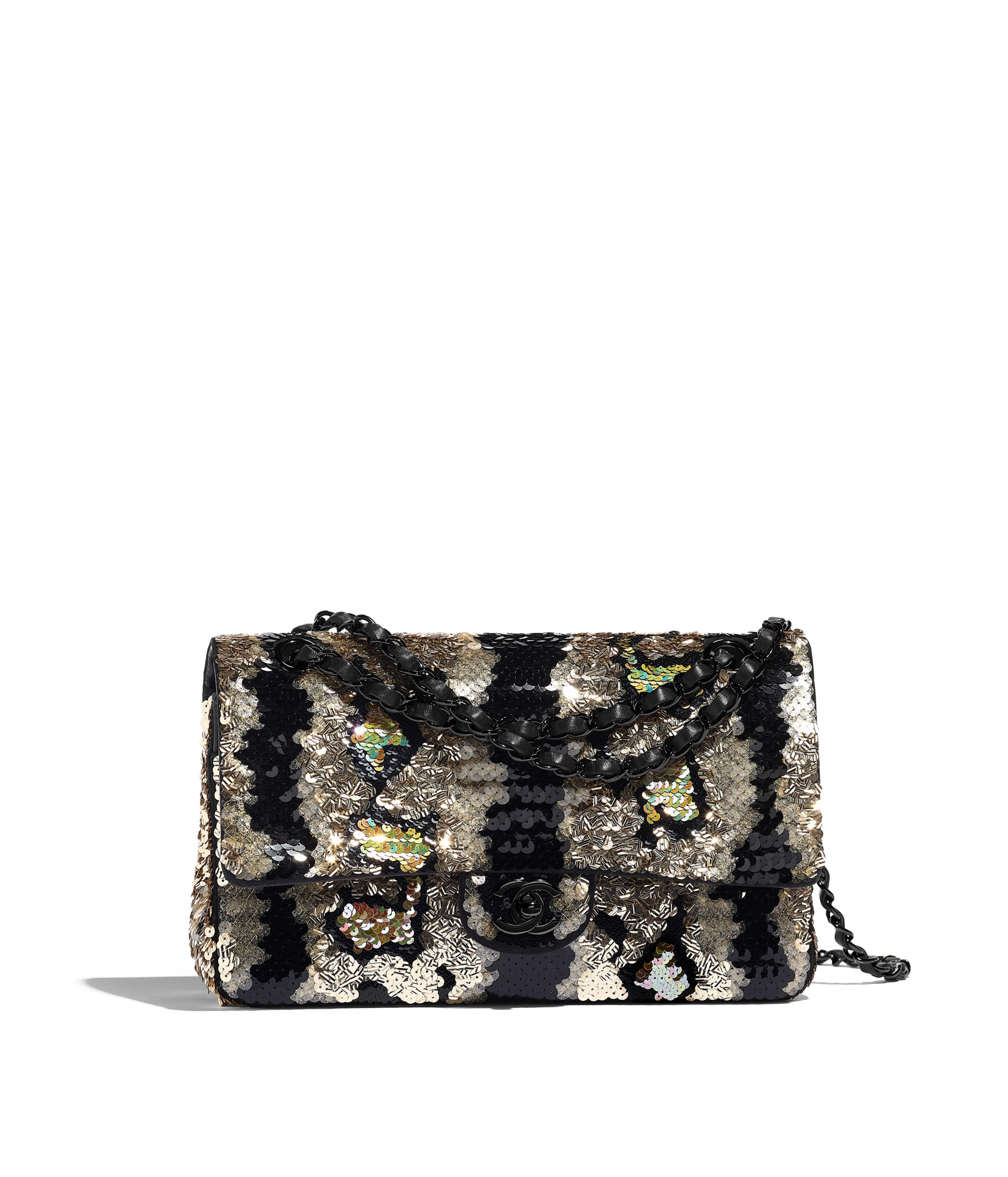 41da261c6000 Classic Handbag Sequins & Black Metal, Gold & Black Ref. A01112B01035N4738