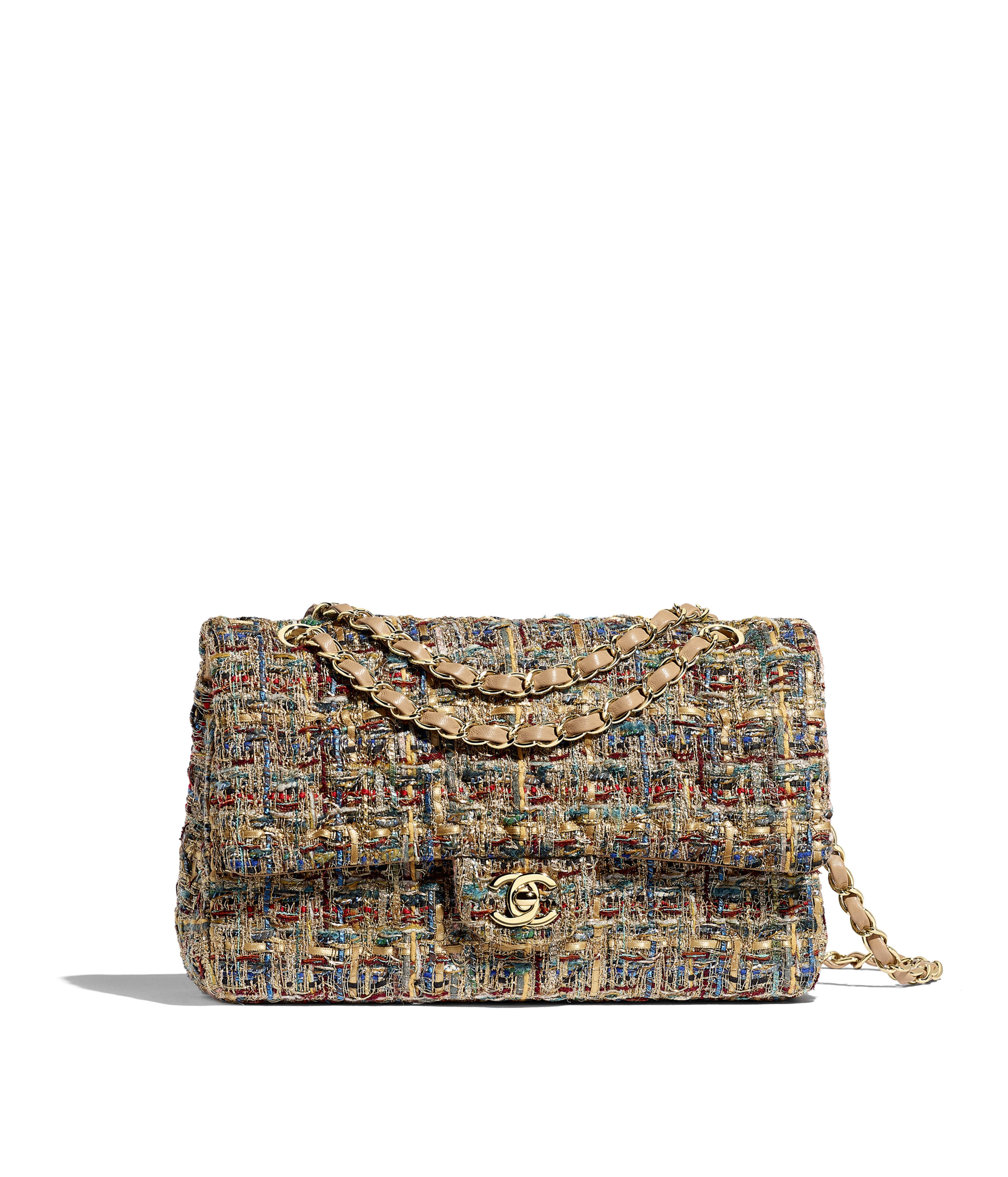 48726efac2809a Classic Handbag Tweed & Gold-Tone Metal, Gold, Blue & Green Ref.  A01112B01026MG529