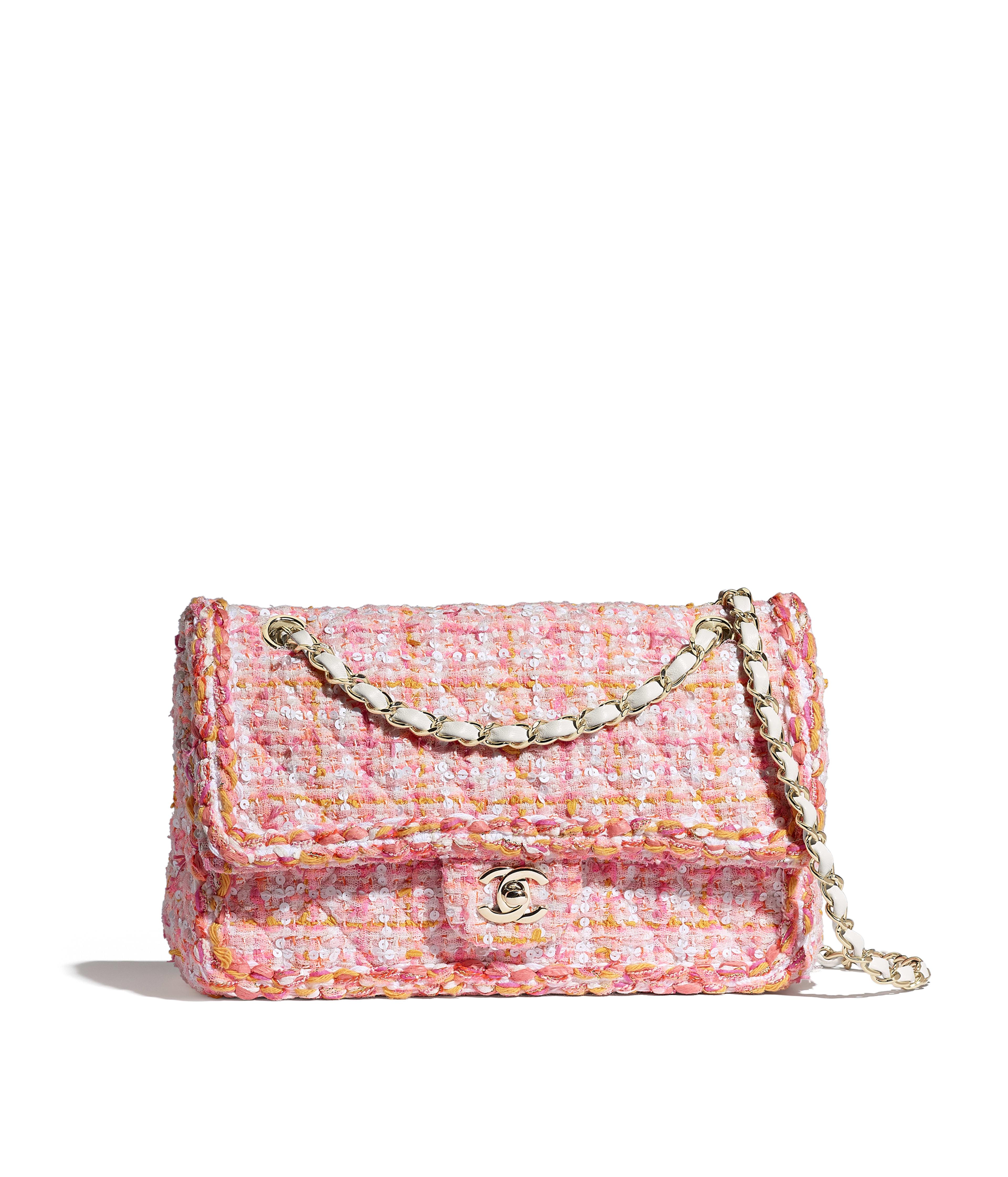 0d132fd679e8 Classic Handbag Tweed, Braid & Gold-Tone Metal, Pink, White, Yellow &  Orange Ref. A01112Y84068MF541