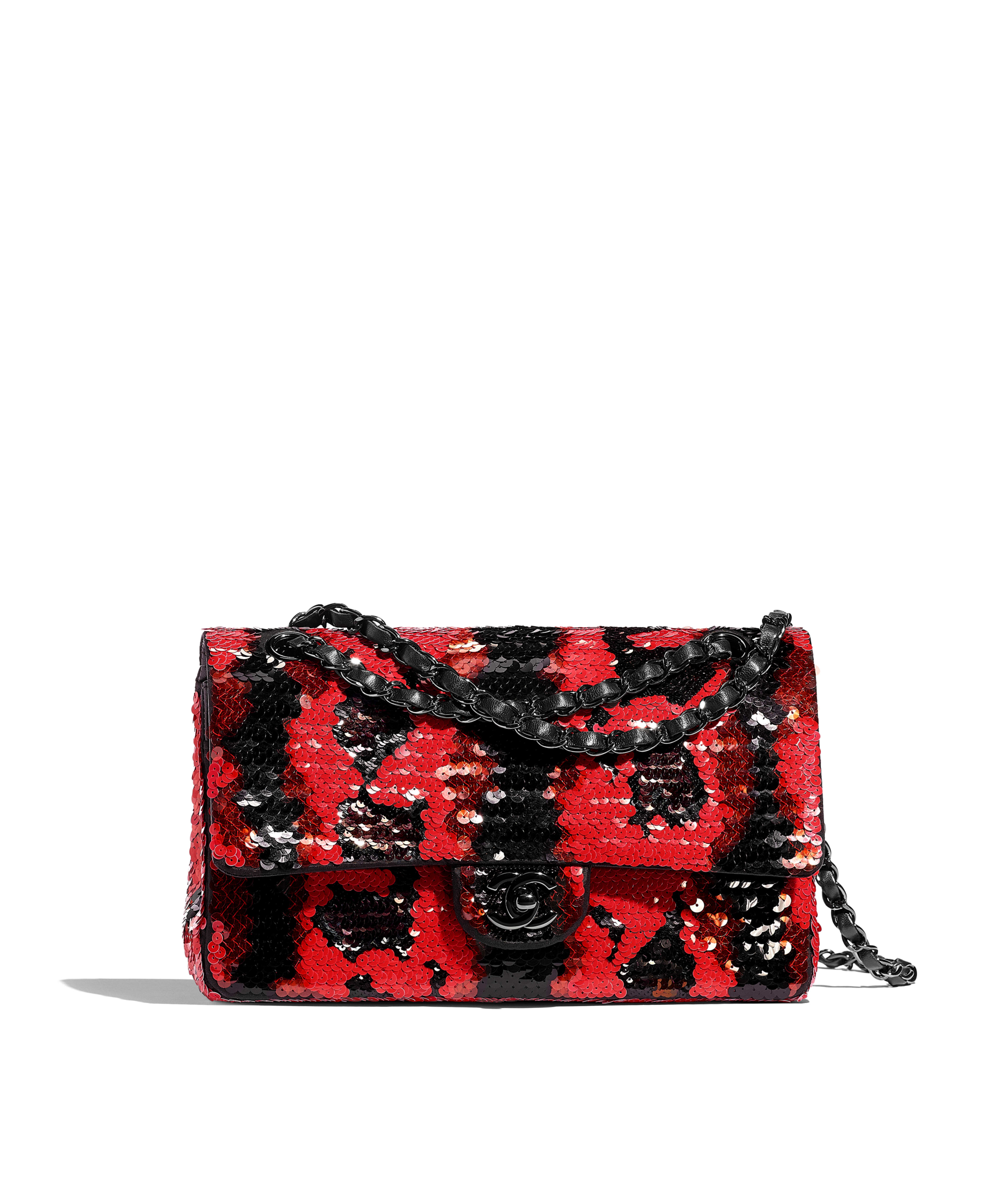 52f49ca012301e Classic Handbag Sequins & Black Metal, Red & Black Ref. A01112B01037N4744