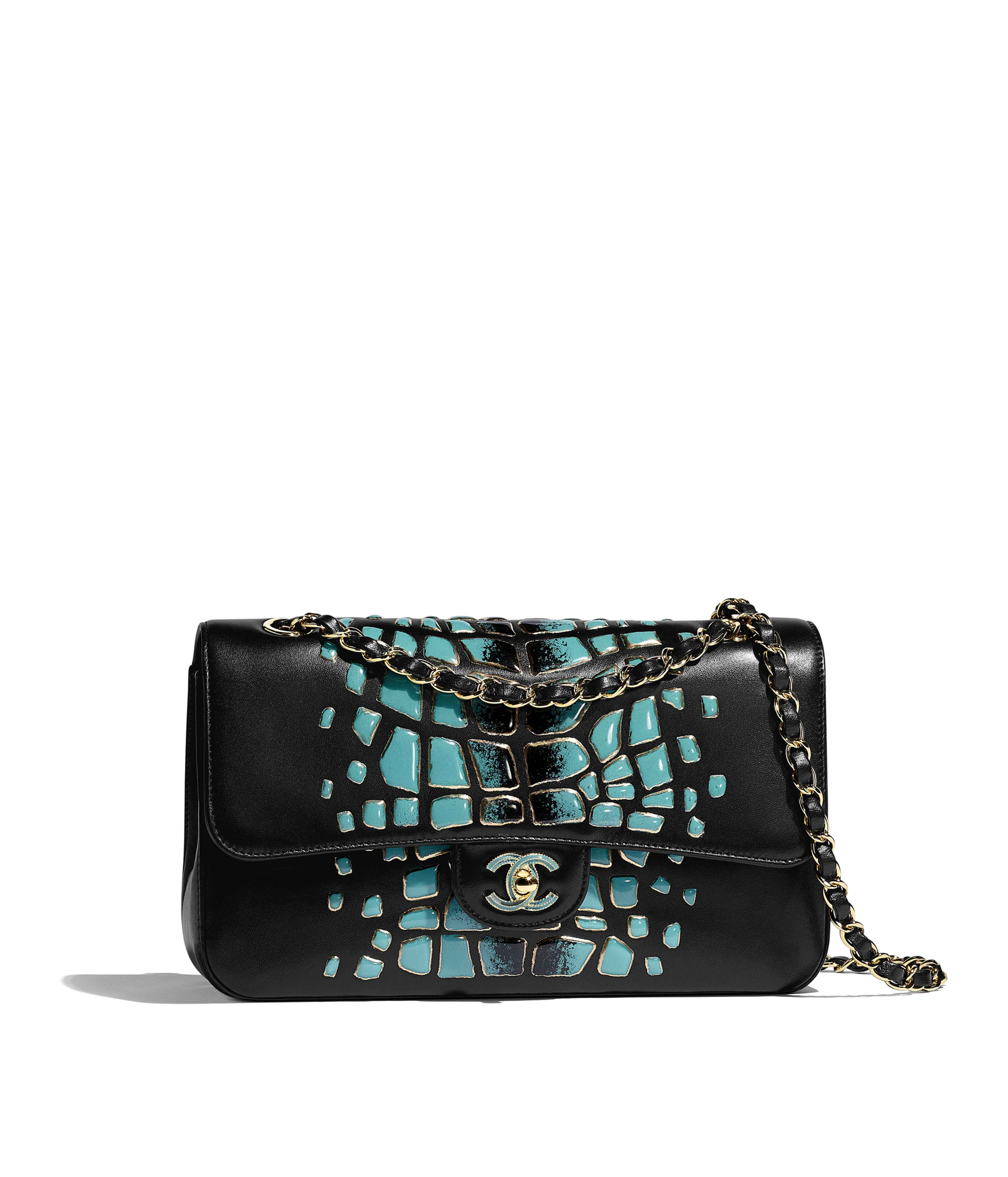 62fc9bfd06323e Classic Handbag Lambskin, Resin & Gold-Tone Metal, Turquoise & Black Ref.  A01112B00744N4840