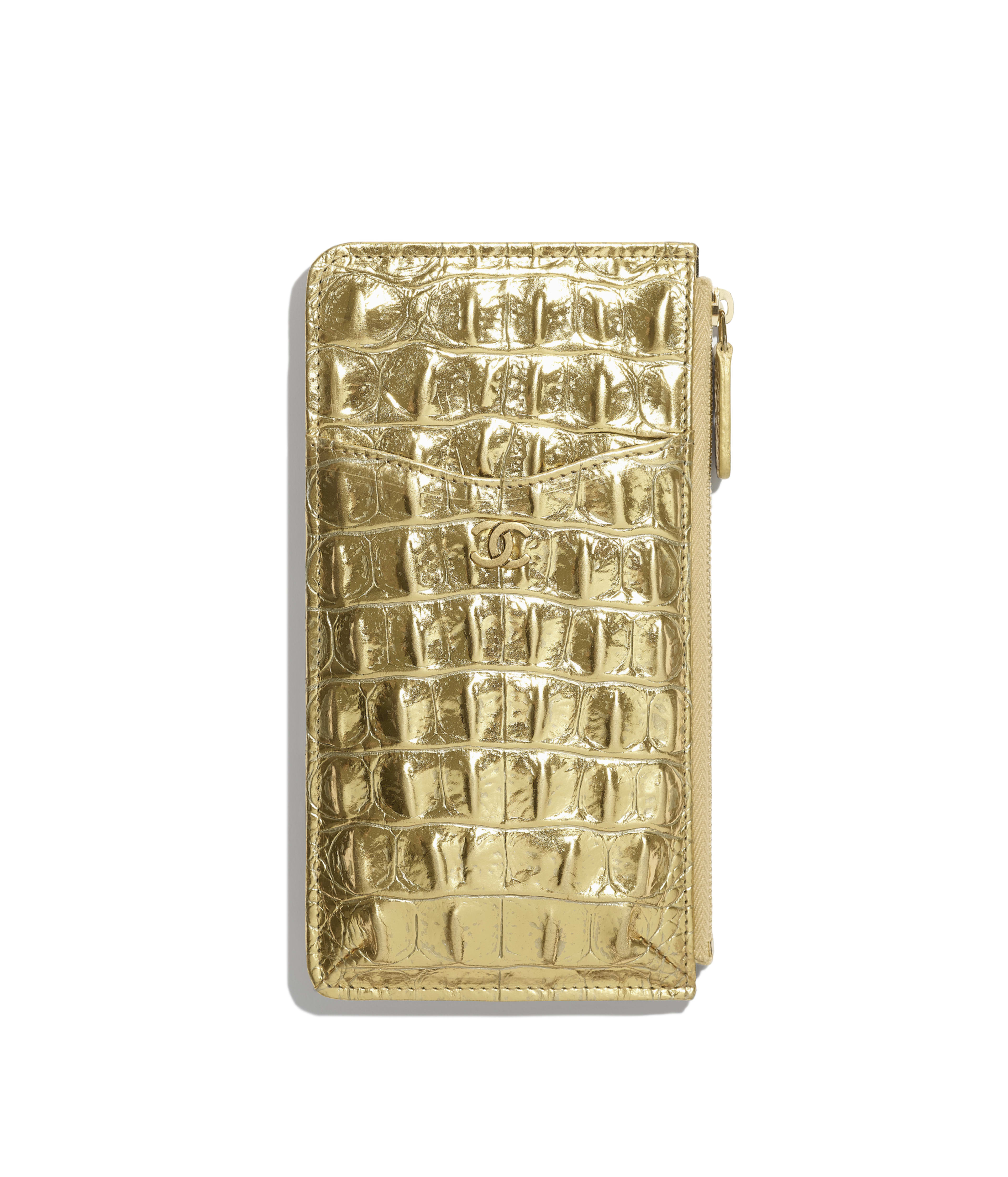 cfdffb9b8e Classic Pouch for iPhone Metallic Crocodile Embossed Calfskin & Gold Metal,  Gold Ref. A81598B00798N4752