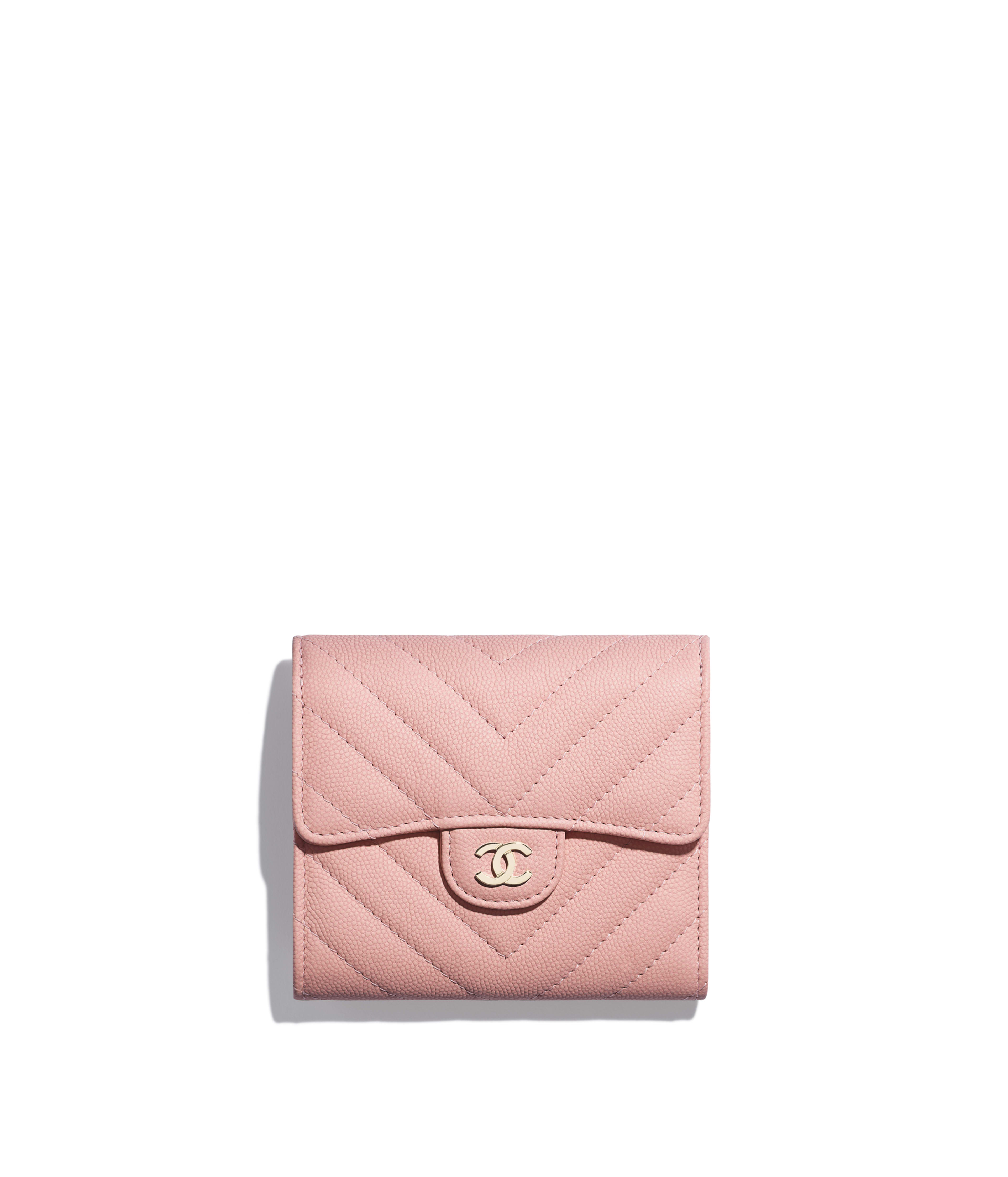 8ce76dfda947c1 Classic Small Flap Wallet Grained Calfskin & Gold-Tone Metal, Pink Ref.  A82288B00313N0897