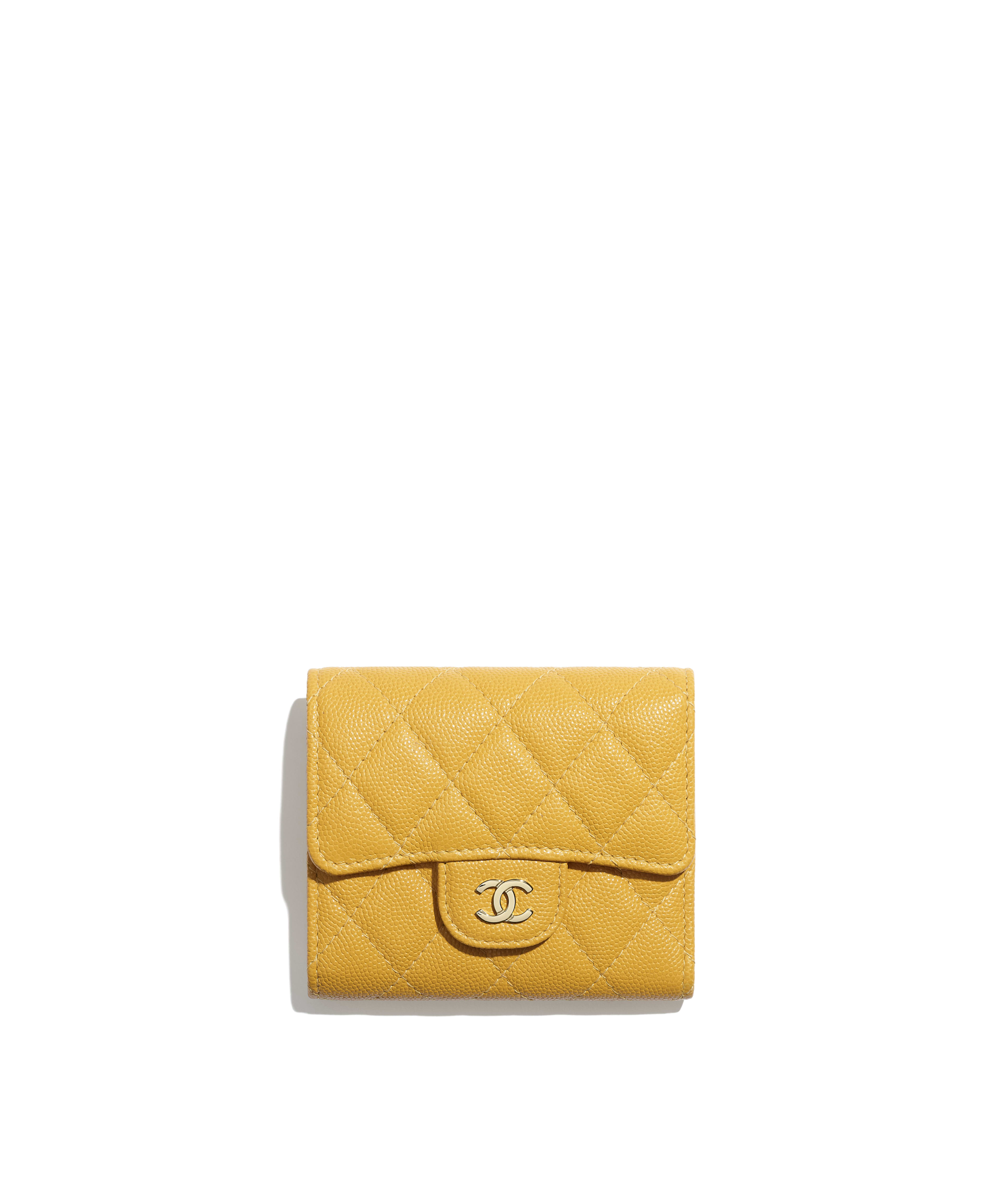 8bc95394ba3a Classic Small Flap Wallet Grained Calfskin & Gold-Tone Metal, Yellow Ref.  A81900Y333520B922