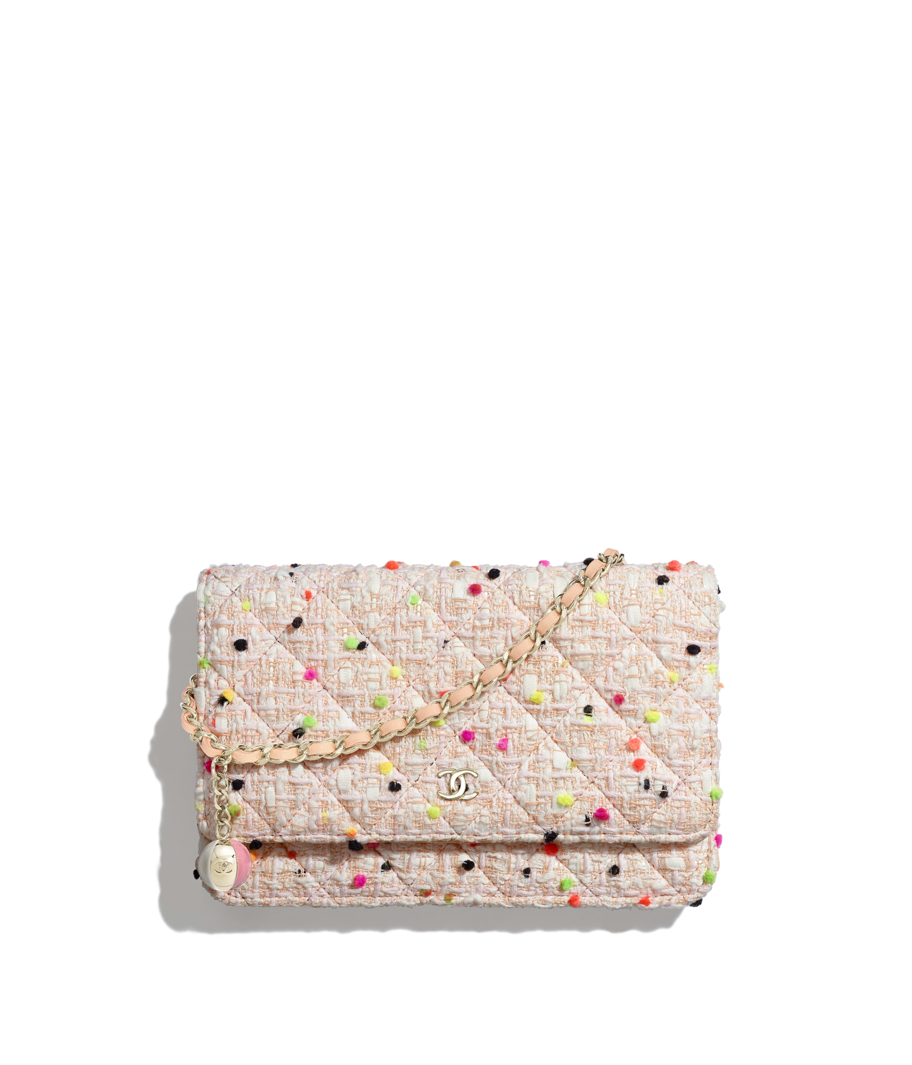8726d729e067 Classic Wallet on Chain Cotton Tweed & Gold-Tone Metal, Coral & White Ref.  A33814B00533MG146