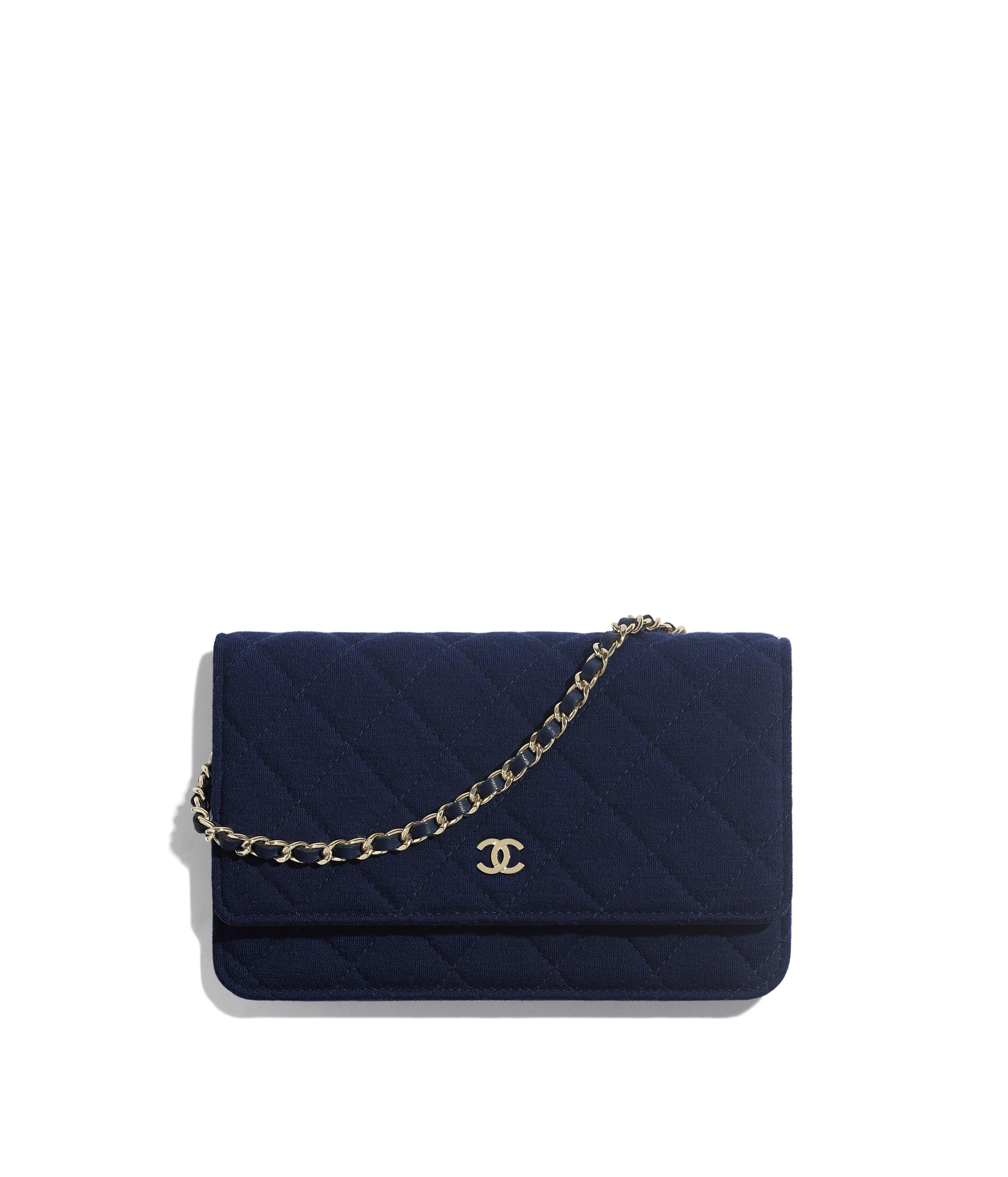 f0249550dc578 Classic Wallet on Chain Jersey & Gold-Tone Metal, Navy Blue Ref.  AP0250Y60389N4875