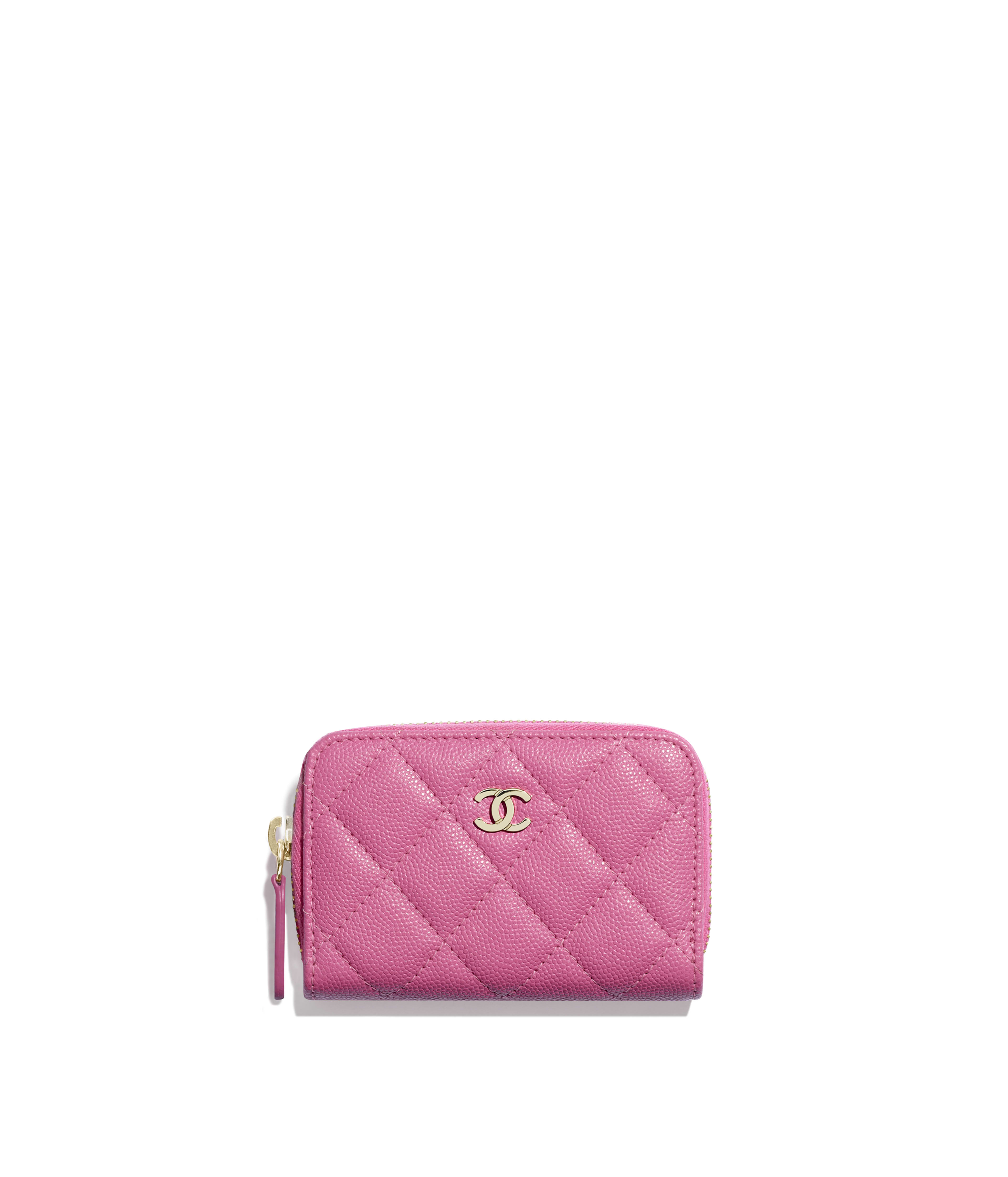 f33c342bde01a8 Classic Zipped Card Holder Grained Calfskin & Gold-Tone Metal, Pink Ref.  A84511Y333525B648