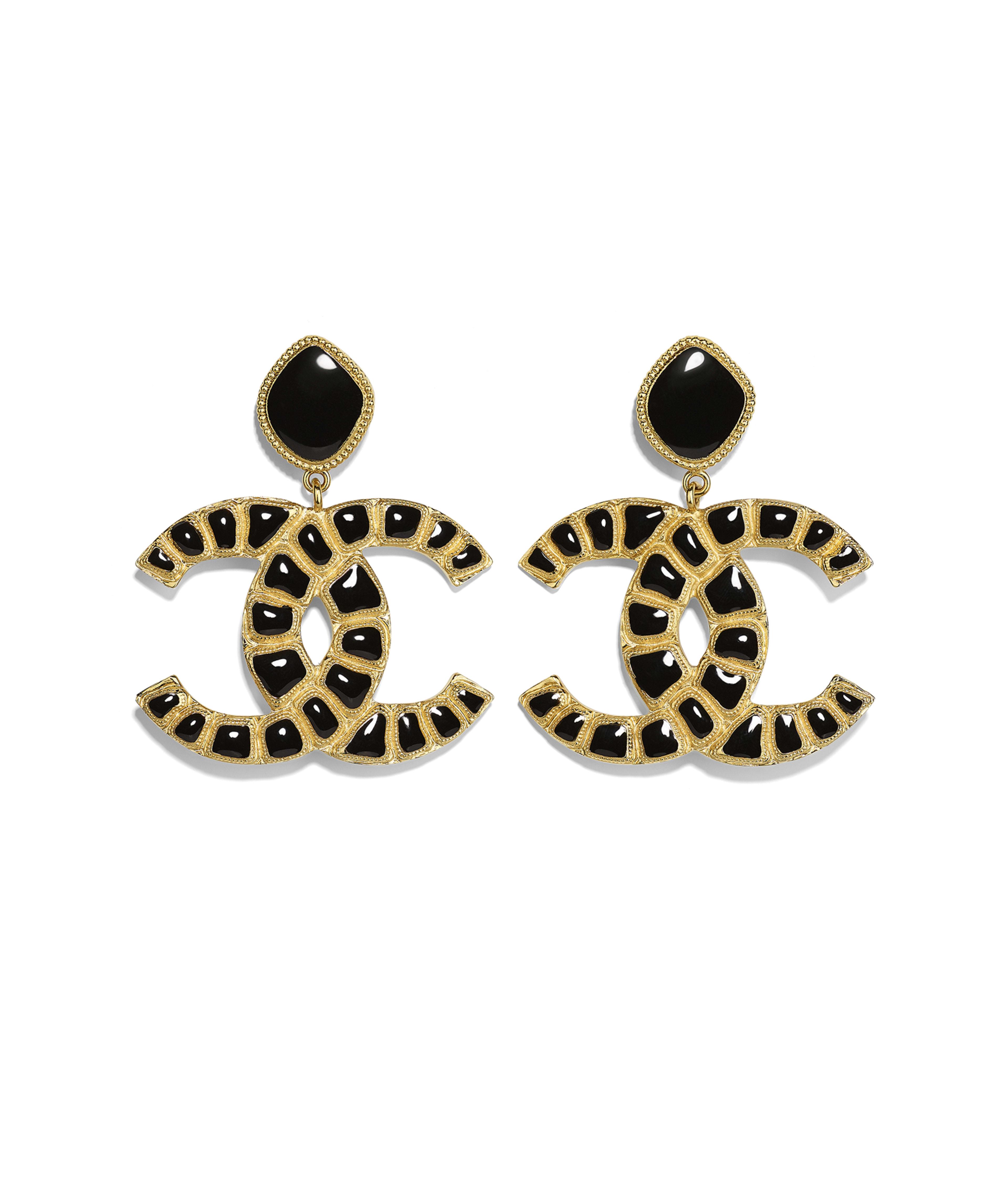 462c50647e7e Clip-on Earrings Metal & Resin, Gold & Black Ref. AB1804Y02018Z9017