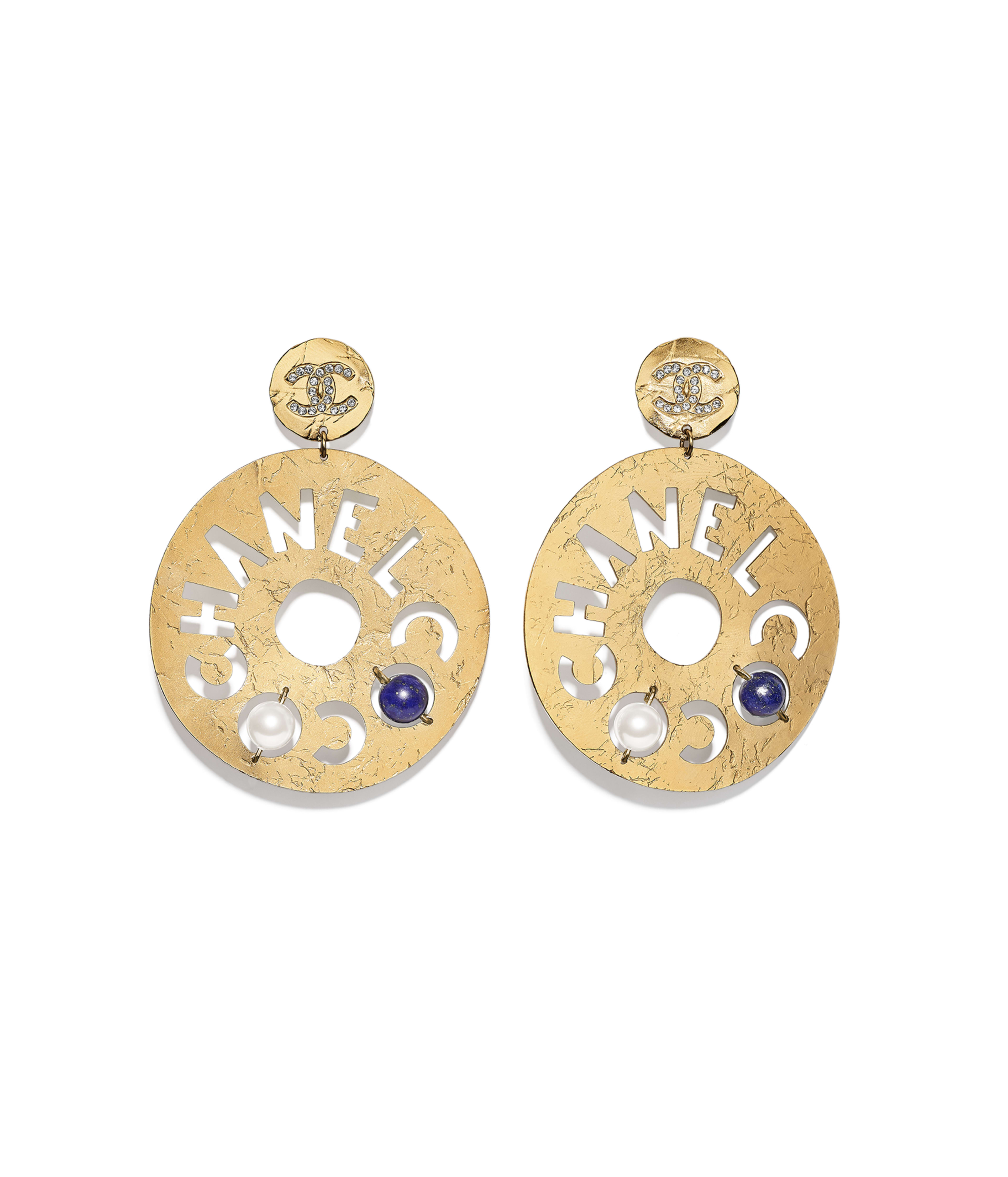 cca98ba7e281 Clip-on Earrings Metal, Natural Stones, Glass Pearls & Strass, Gold, Pearly  White, Blue & Crystal Ref. AB1602Y47711Z9127