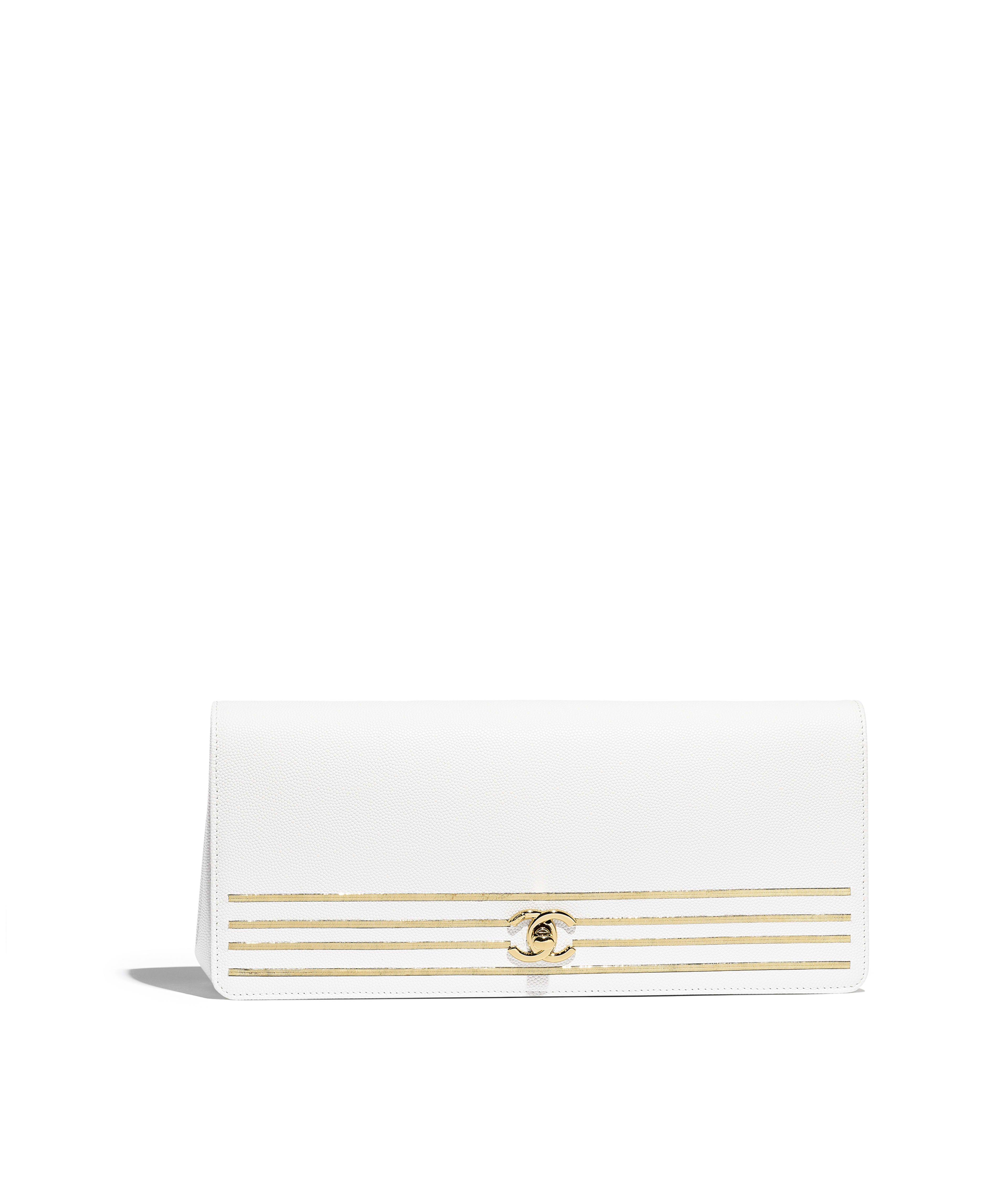 b49154ee3557 Clutch Embroidered Grained Calfskin & Gold-Tone Metal, White Ref.  AS0082Y8410510601