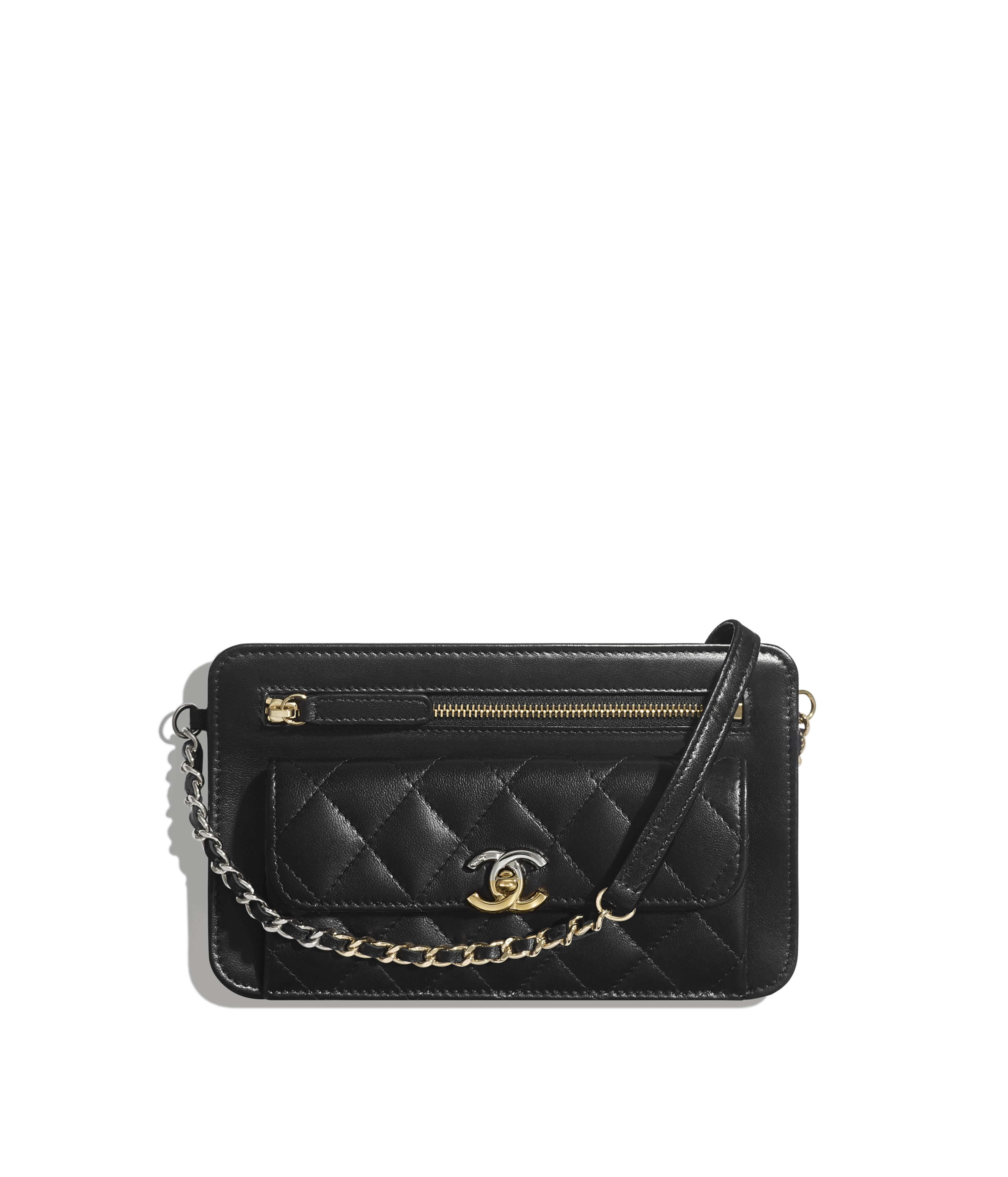 3bcb07318ea3 Clutch with Chain Lambskin