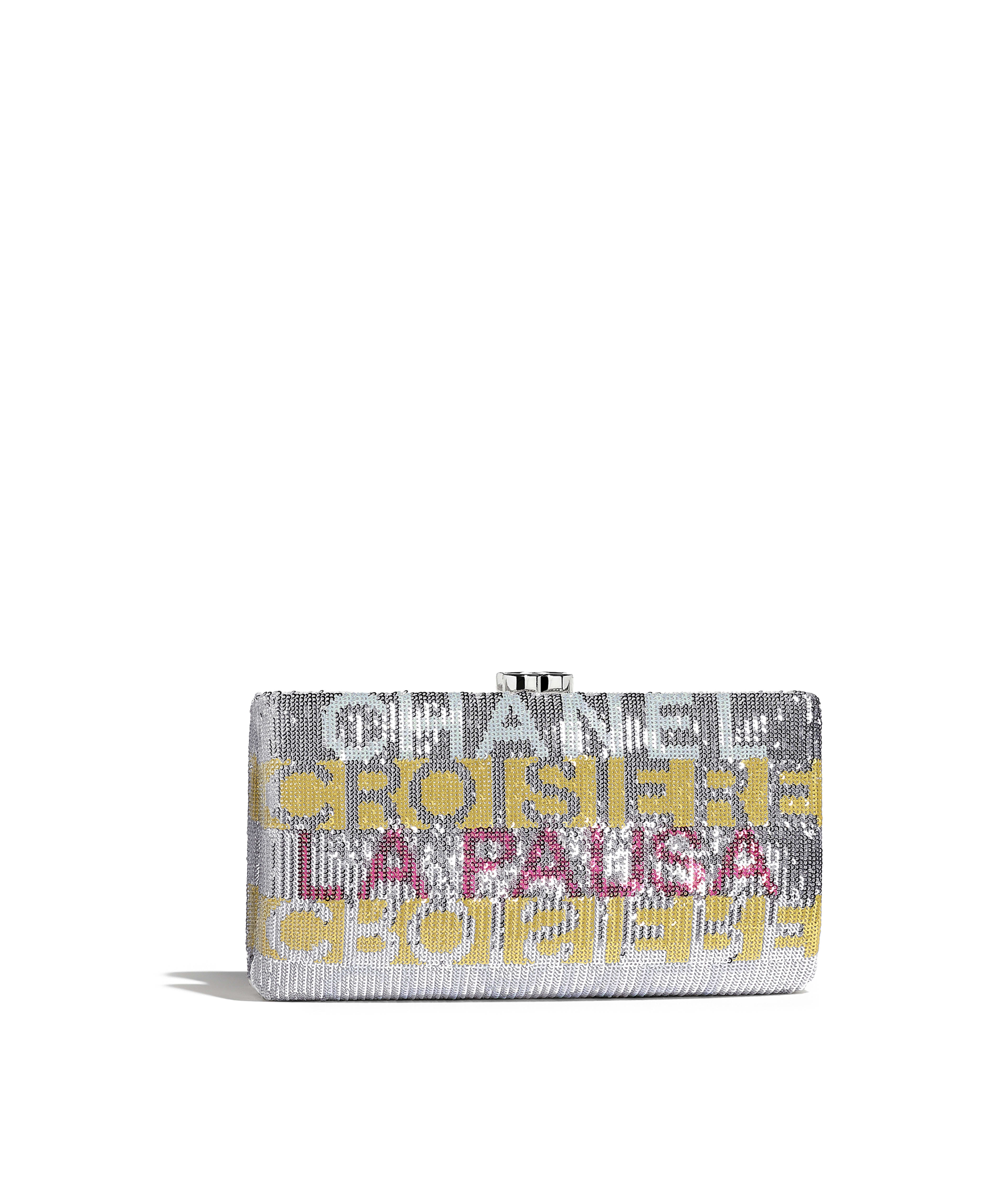 5fb427fbb045 Clutch Embroidered Satin, Sequins & Silver-Tone Metal, Yellow, Pink &  Silver Ref. AS0136Y84131K1322