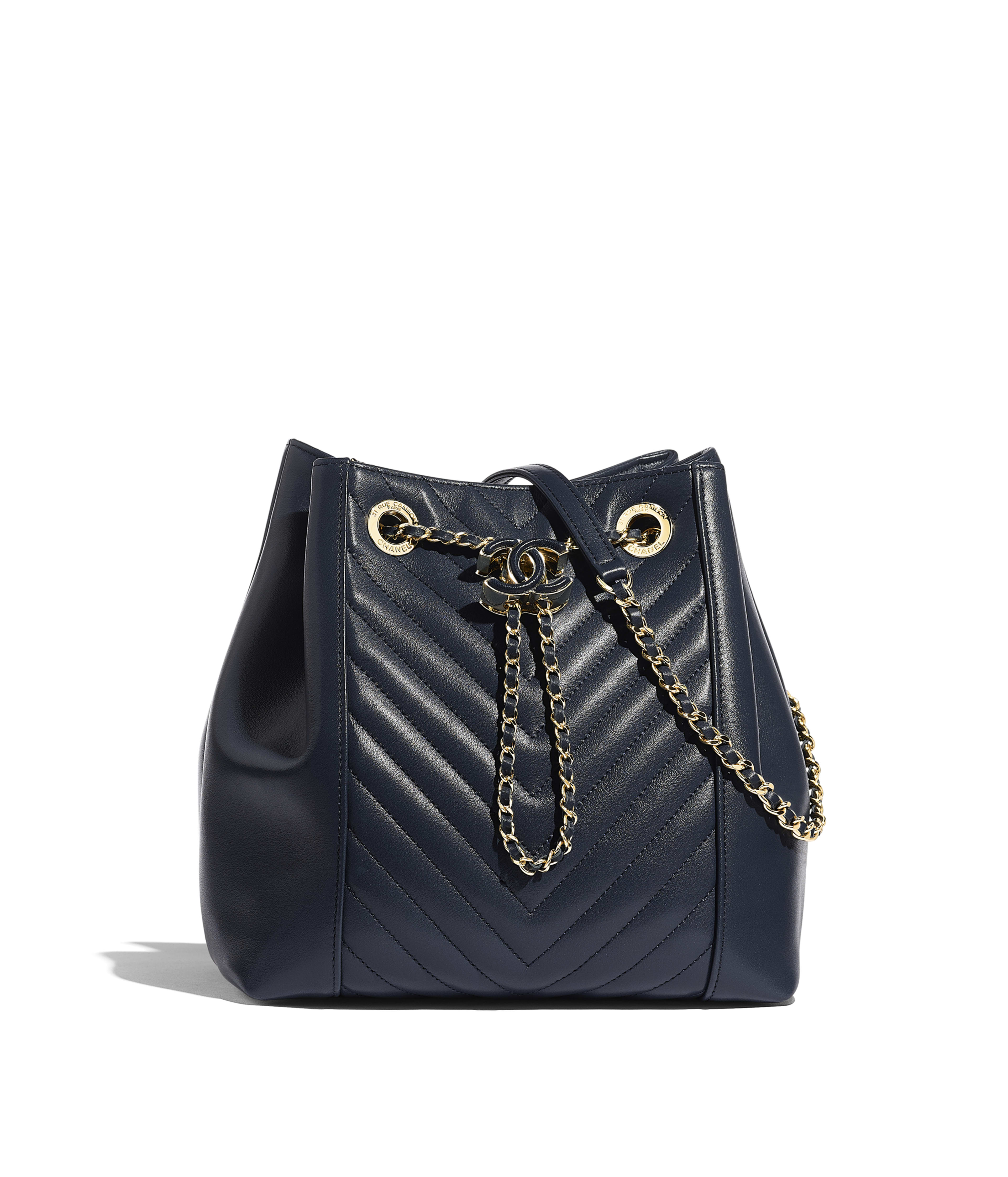 7745b53c7a0a Drawstring Bag Calfskin & Gold-Tone Metal, Navy Blue Ref. AS0263B00014N0868
