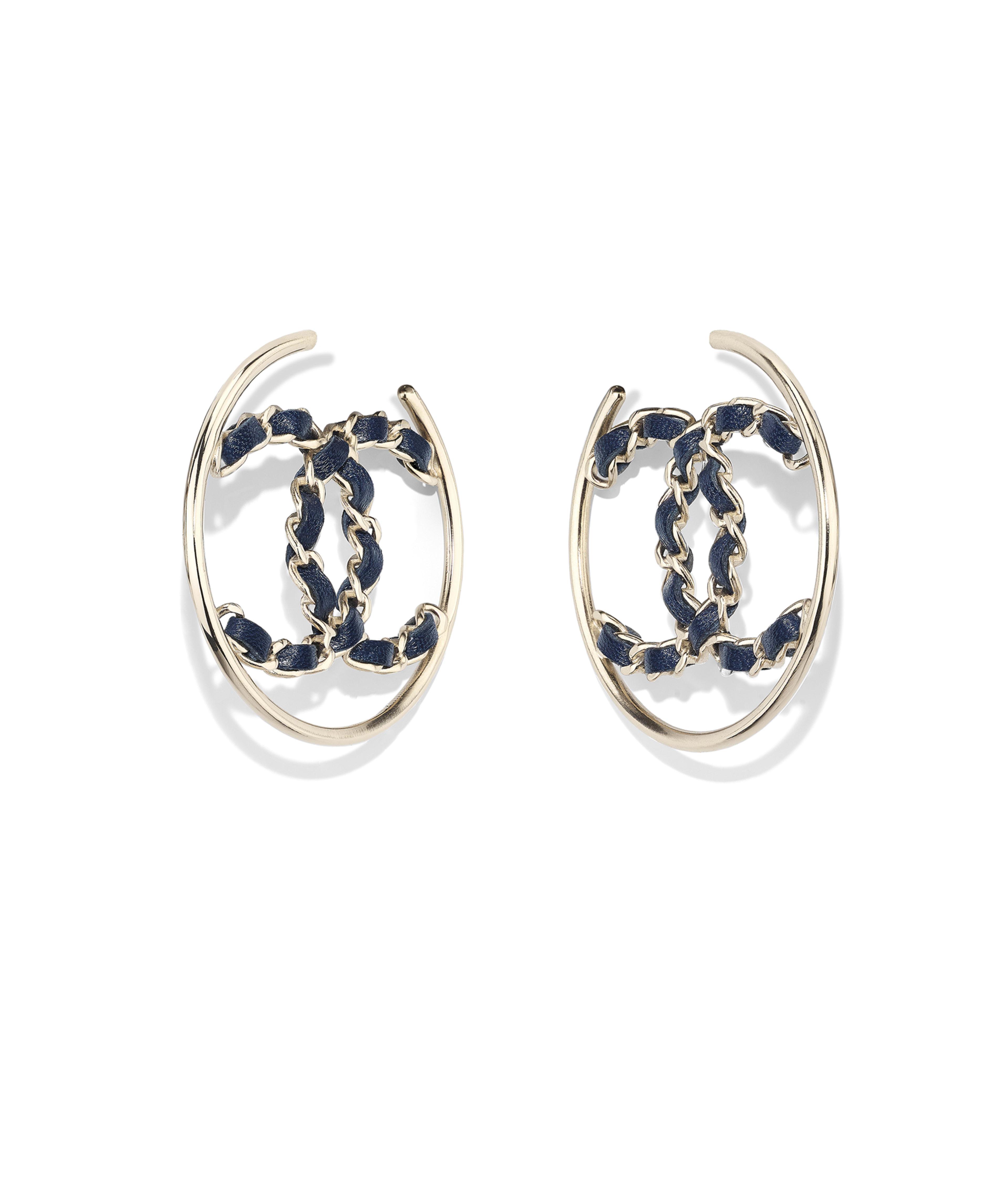 Earrings Metal Calfskin Gold Blue Ref Ab0565y47598z9041
