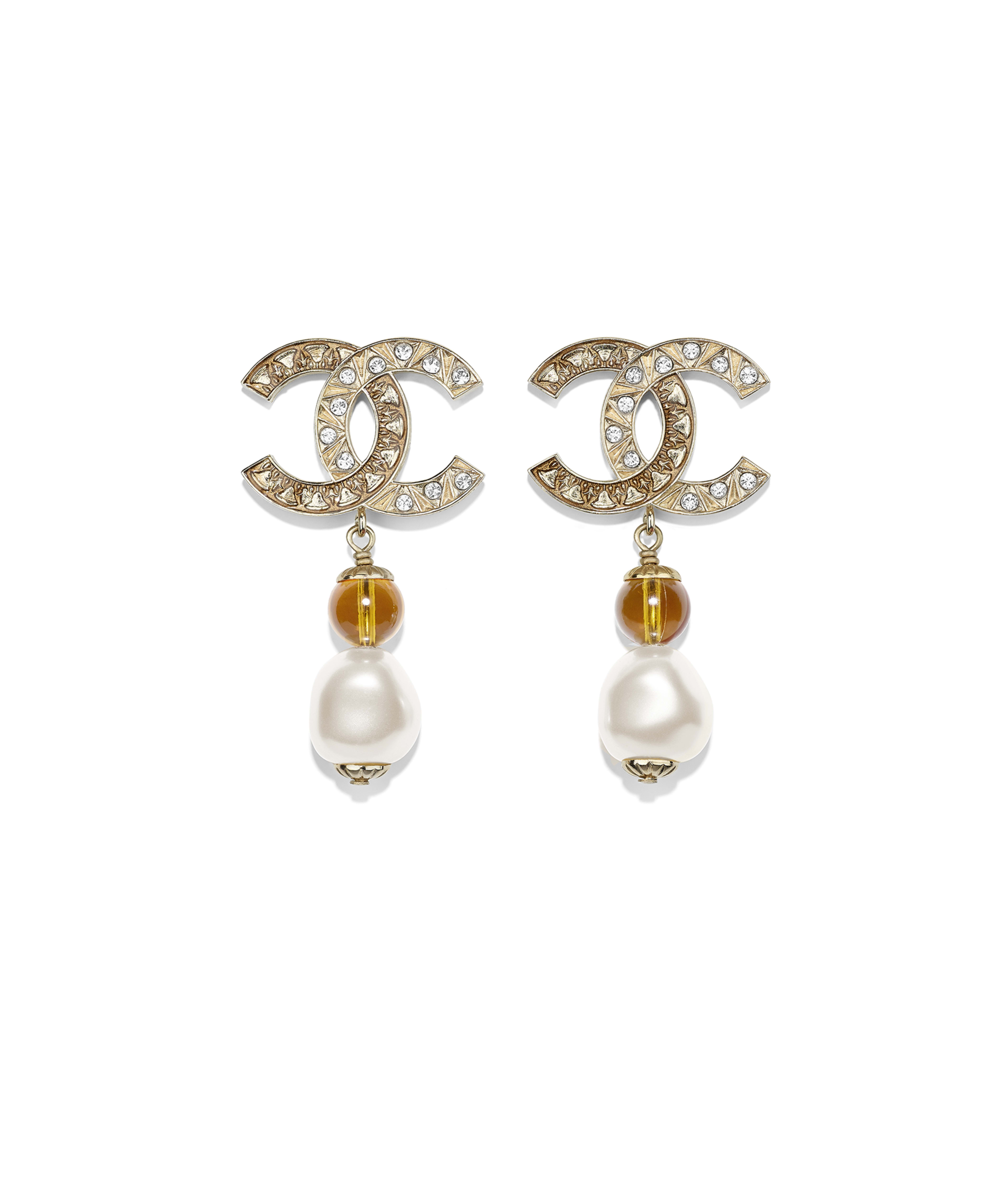 6d101b46e706a1 Earrings Metal, Glass Pearls, Imitation Pearls & Strass, Gold, Pearly  White, Orange & Crystal Ref. AB1493Y47719Z9144