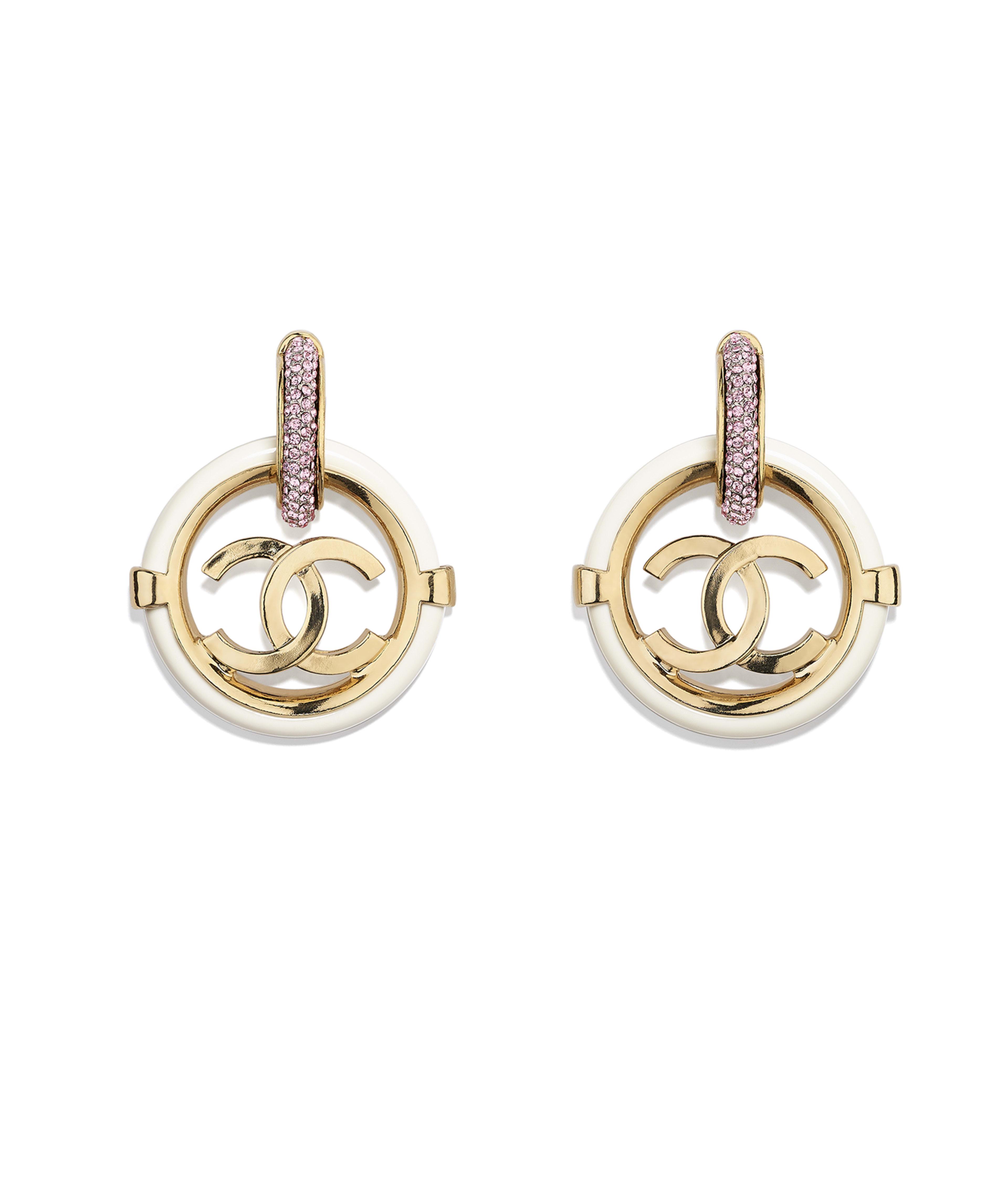 Earrings Metal Resin Str Gold White Pink Ref Ab1308y47633z5540