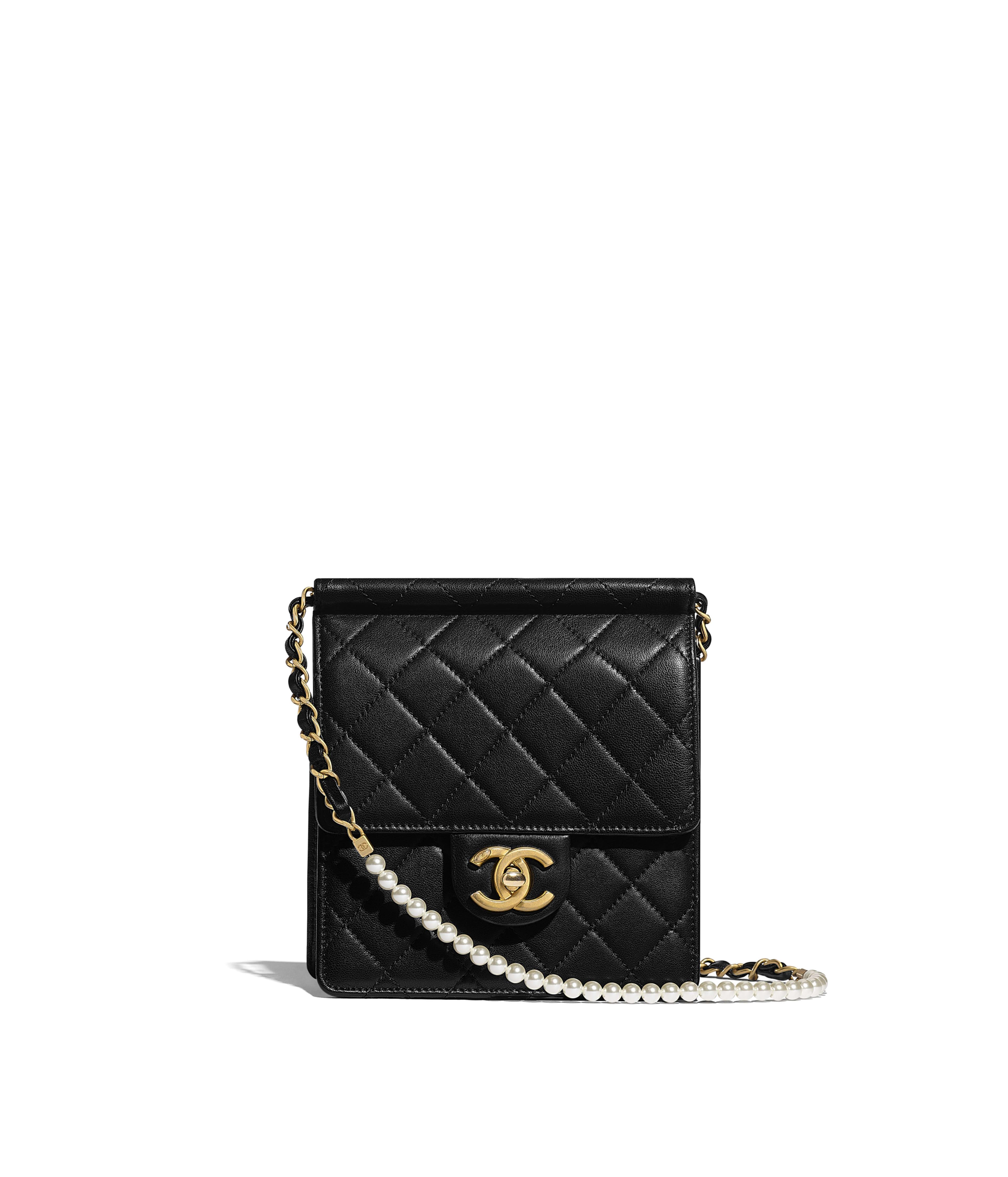 0c3693431a76 Flap Bag Lambskin, Imitation Pearls & Gold-Tone Metal, Black Ref.  AS0580B0037194305