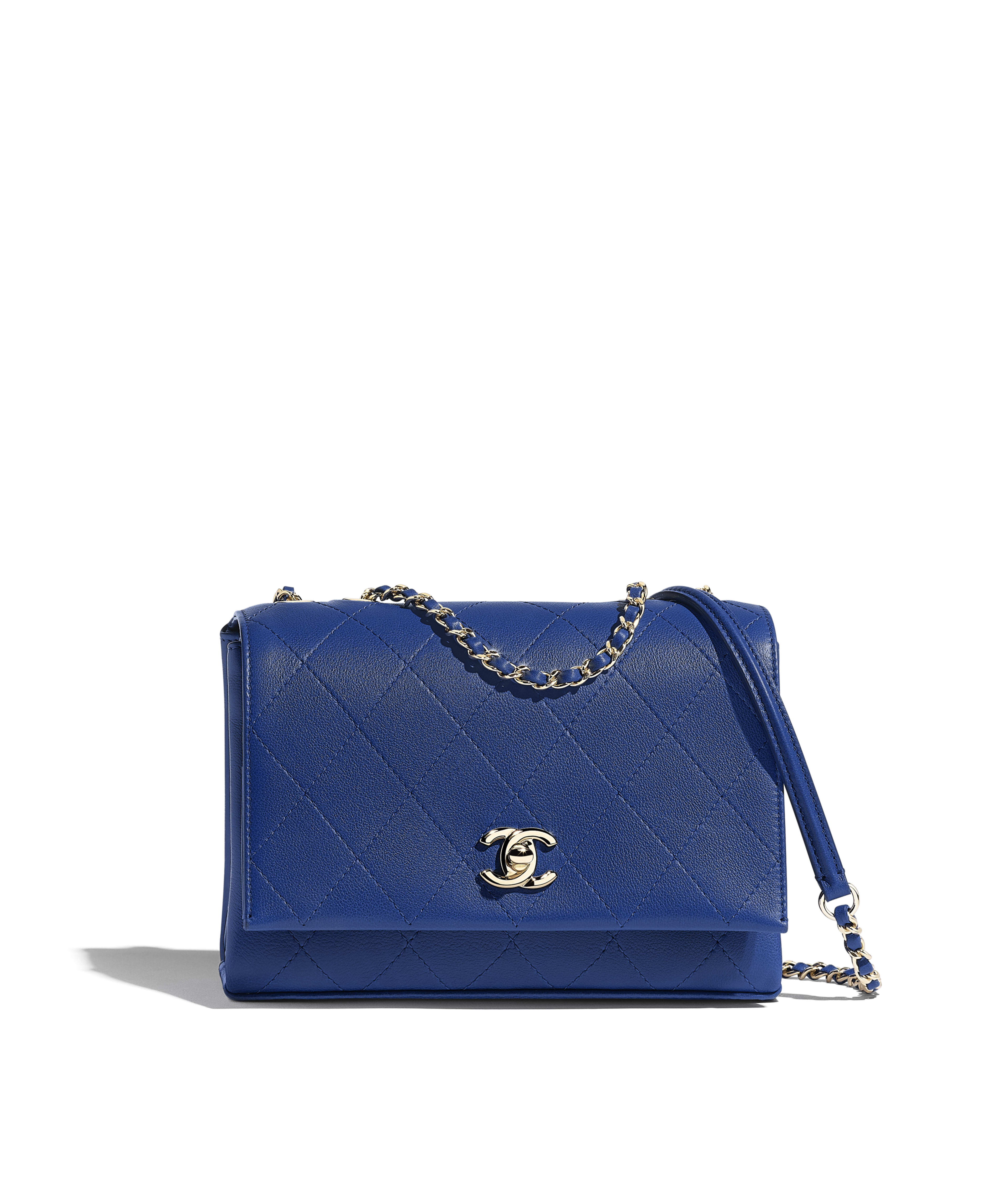 84a0b100fd39 Flap Bag Calfskin & Gold-Tone Metal, Dark Blue Ref. AS0645B004455B645