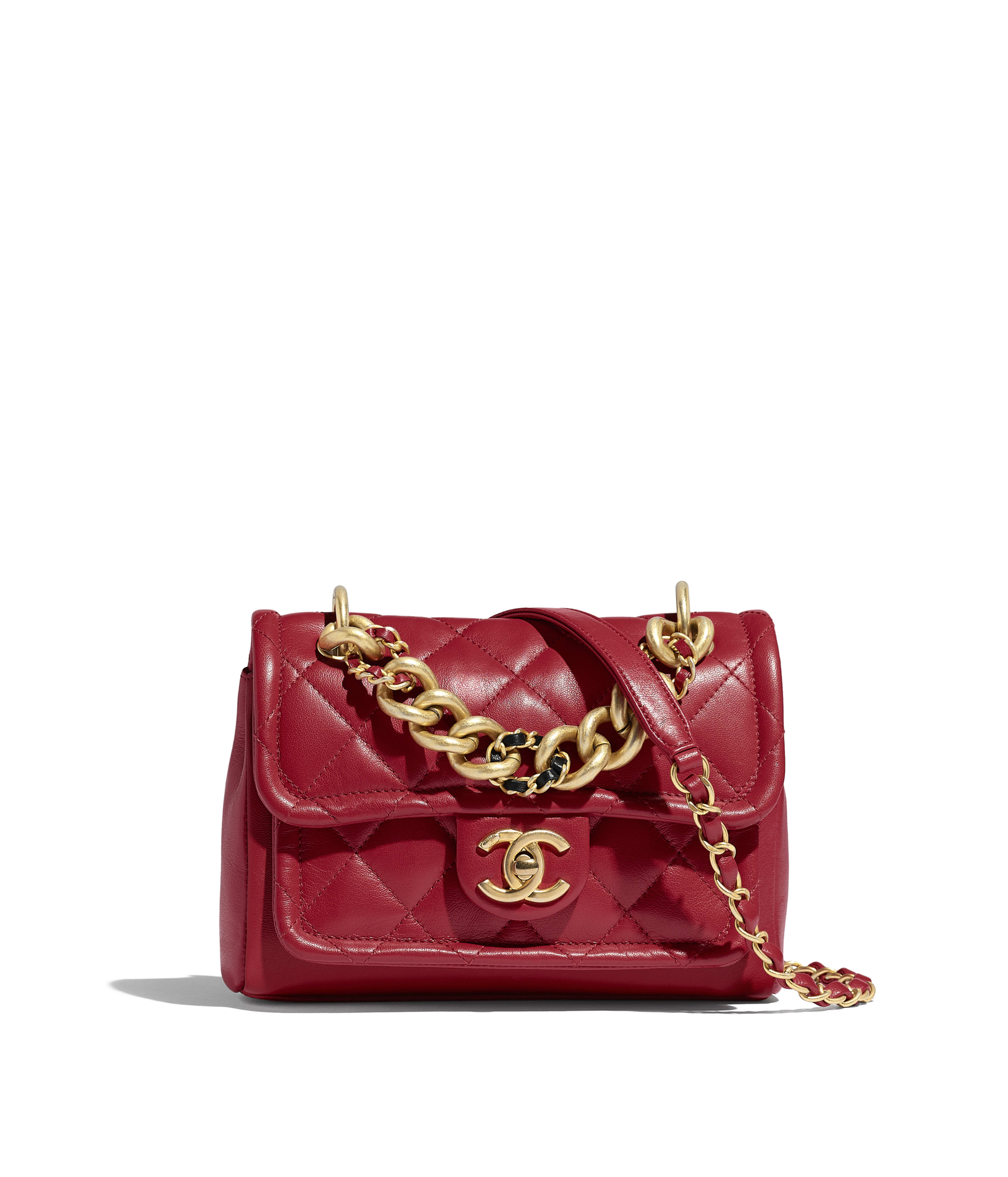 7c8036f1a981c9 Flap Bag Lambskin & Gold-Tone Metal, Red Ref. AS0936B01190N4855