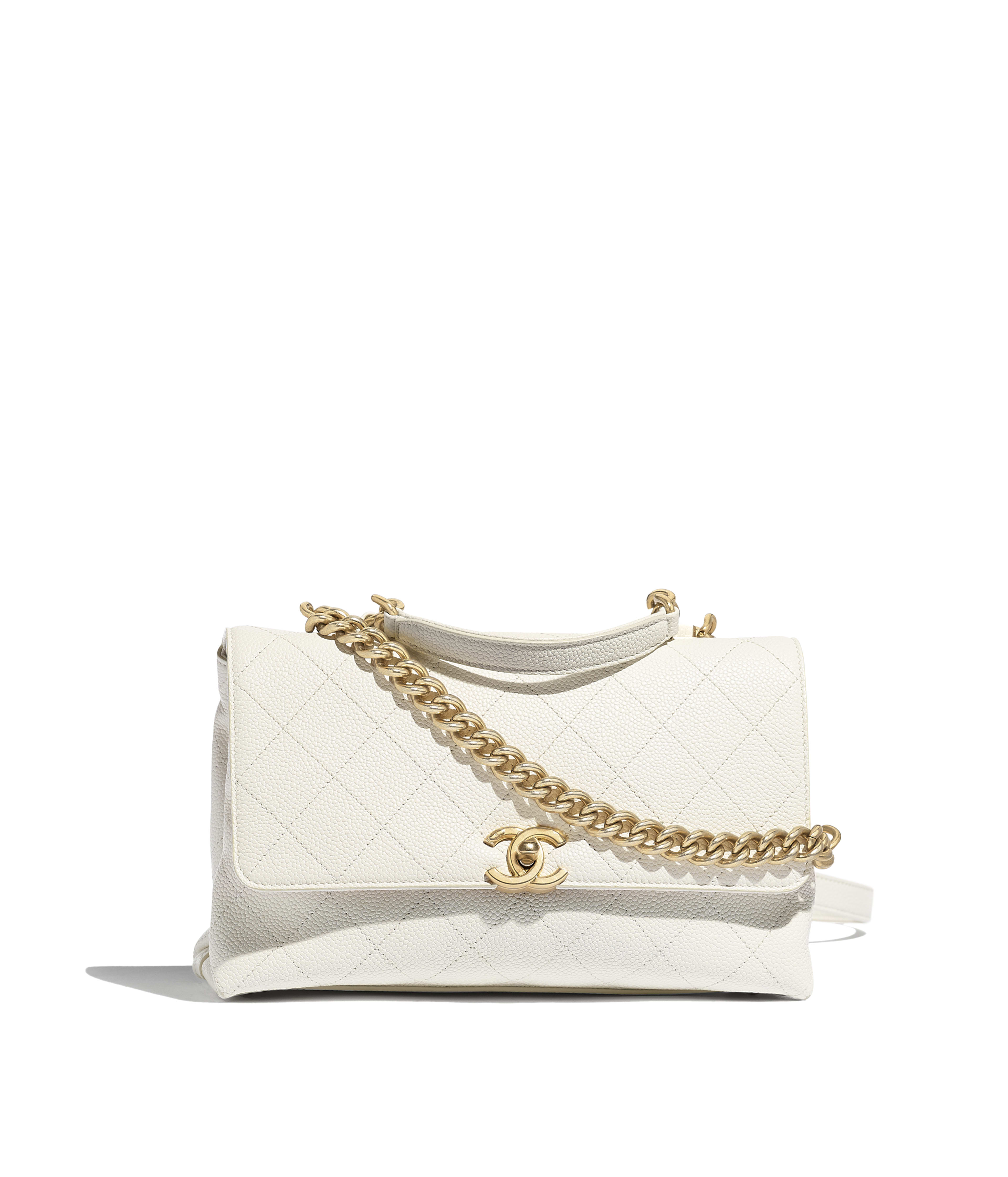 b1dd936fef6 Flap Bag Grained Calfskin & Gold-Tone Metal, White Ref. AS0305B0017010601