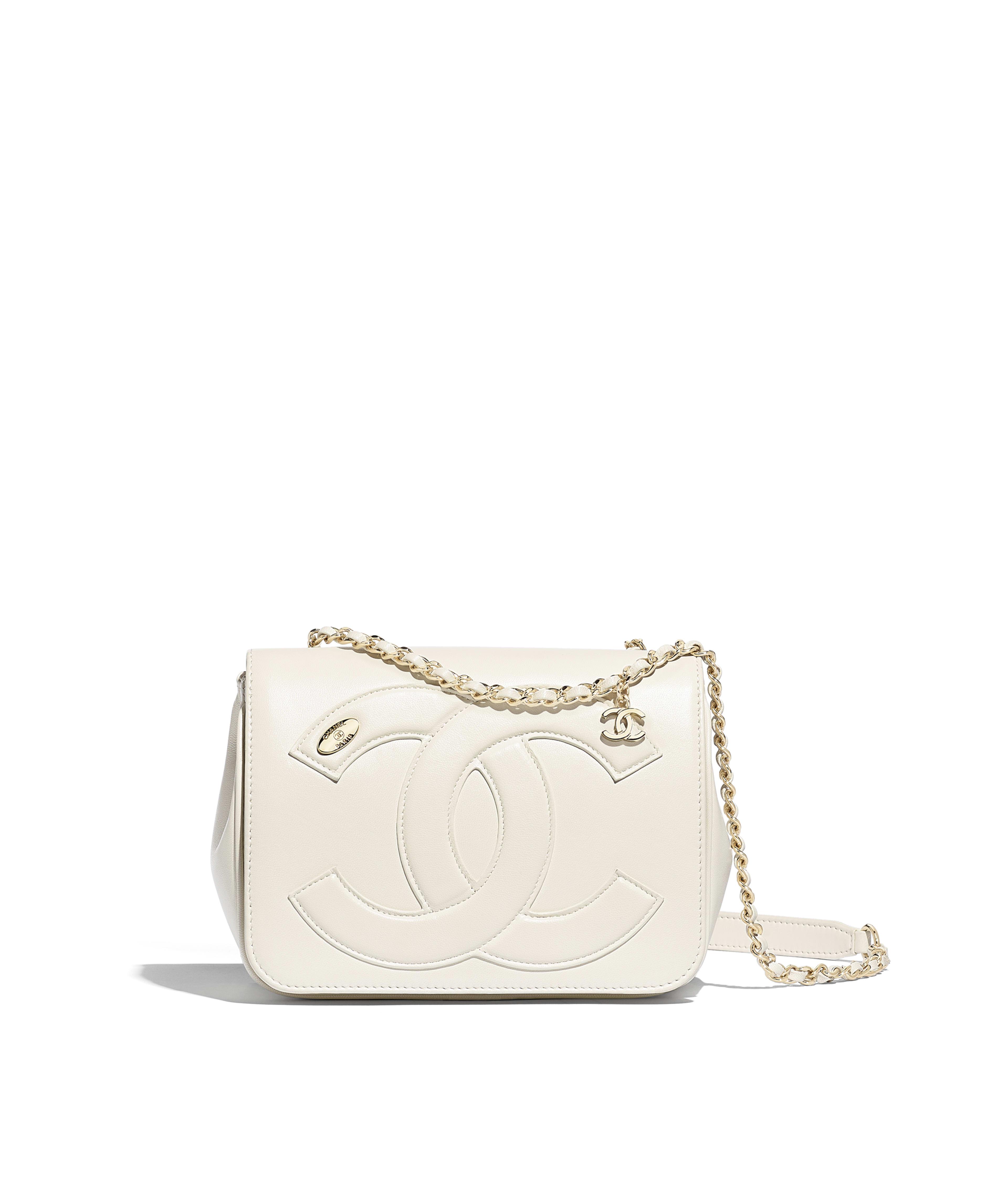 51c2bb0ee435 Flap Bag Lambskin & Gold-Tone Metal, White Ref. AS0321B0012010601